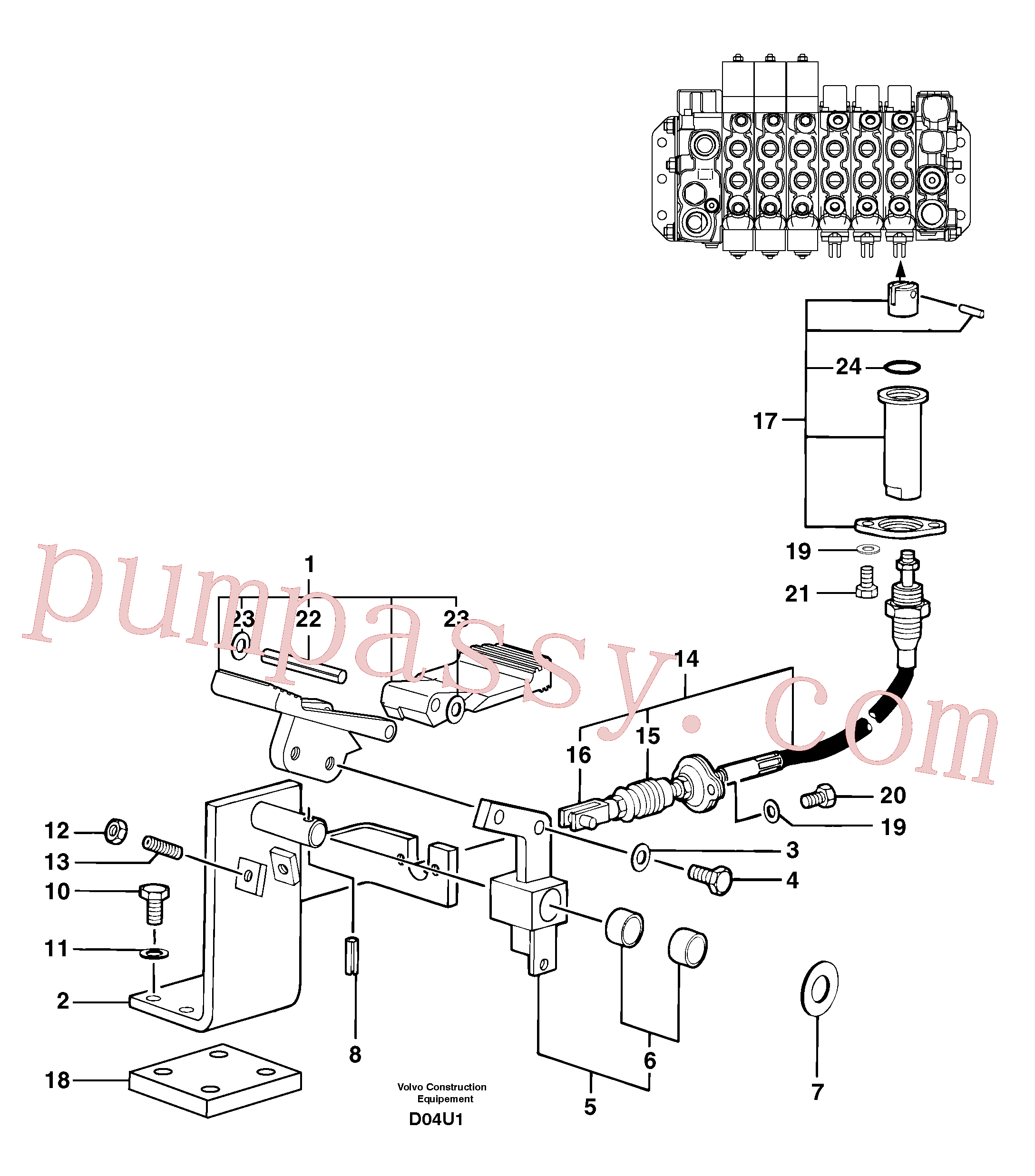 PJ4490021 for Volvo Control pedal : accessories on attachment - 90 l/m(D04U1 assembly)