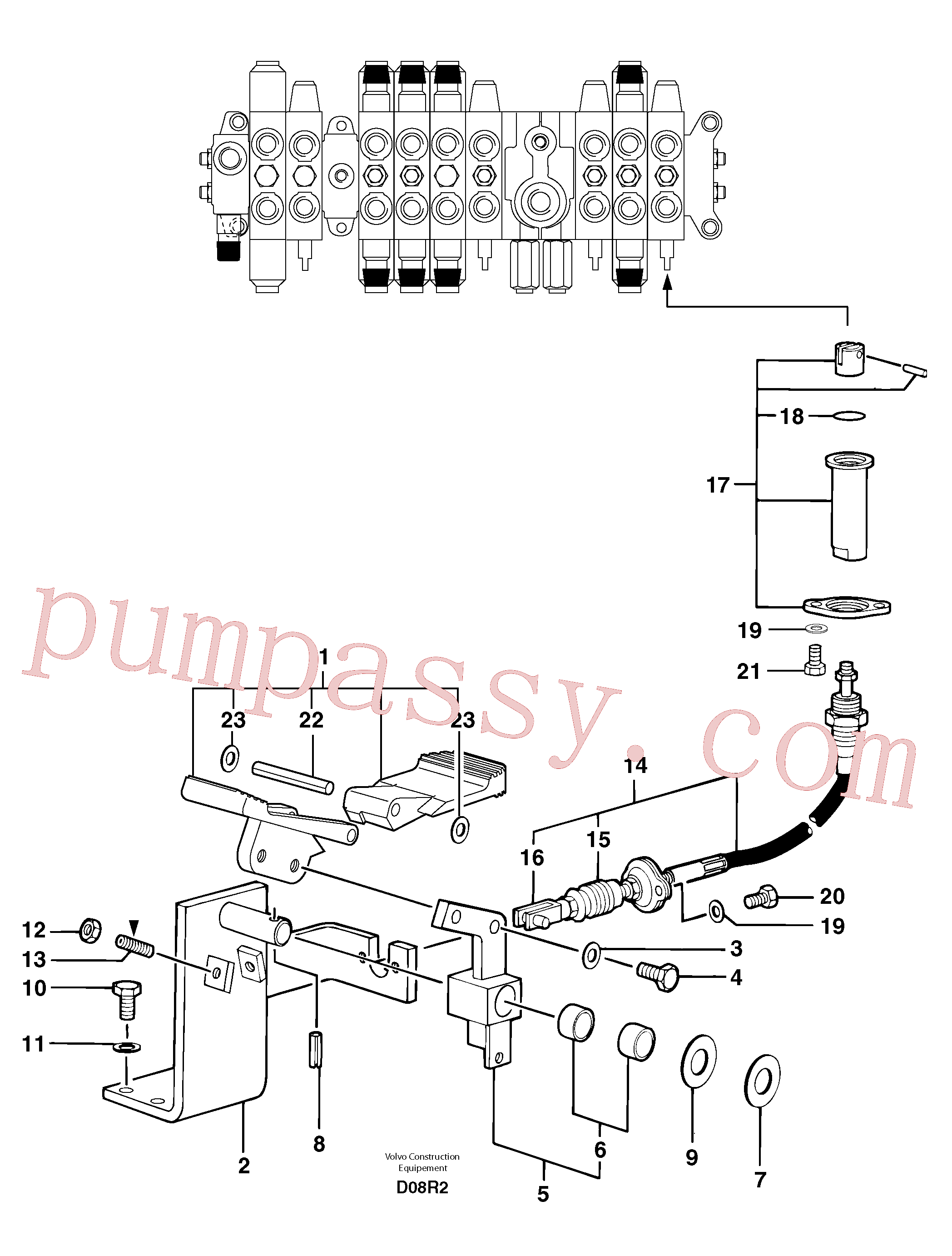 PJ4490021 for Volvo Control pedal : accessories on attachment - 75 l/m(D08R2 assembly)