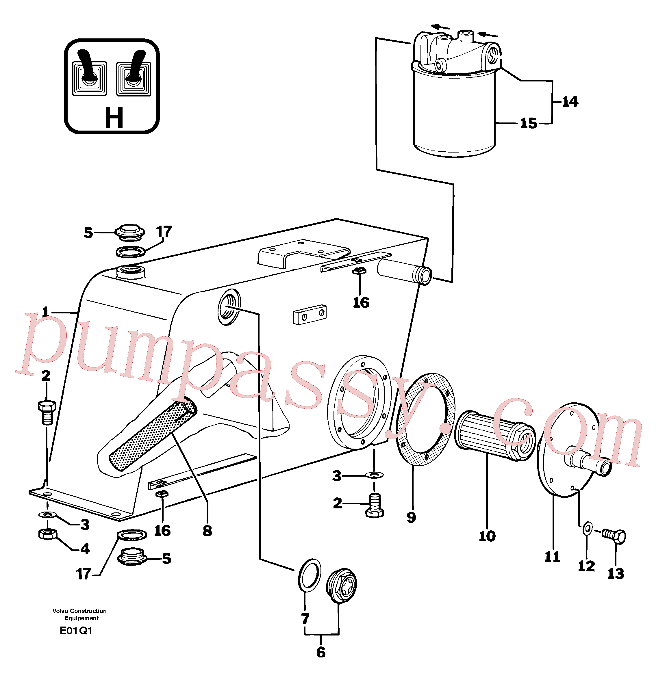 PJ4380037 for Volvo Hydraulic tank(E01HQ1 assembly)