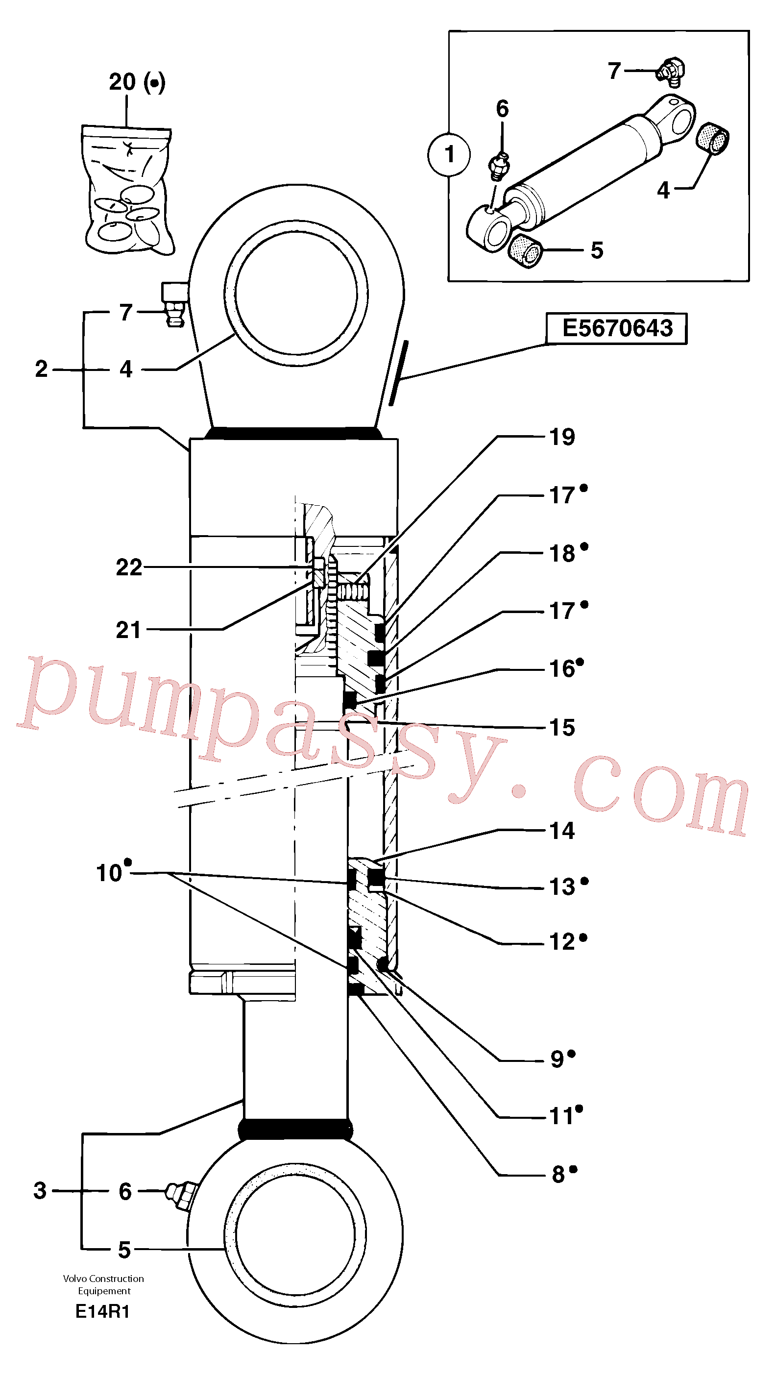 VOE11802100 for Volvo Dipper arm cylinder(E14R1 assembly)