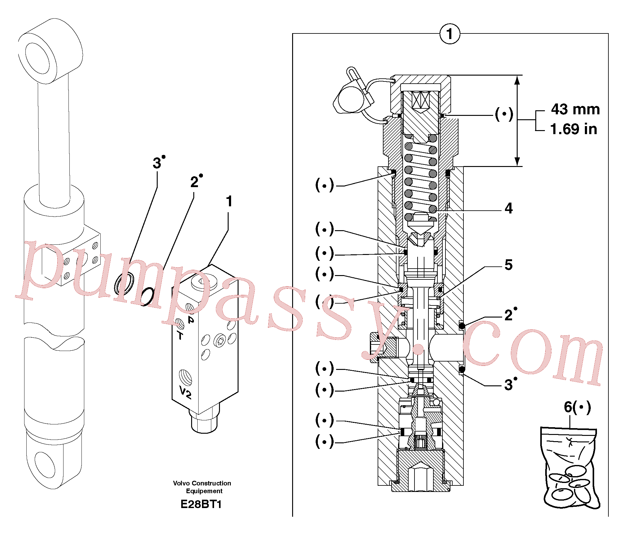 PJ7416941 for Volvo Safety valve ( dipper arm cylinder )(E28BT1 assembly)