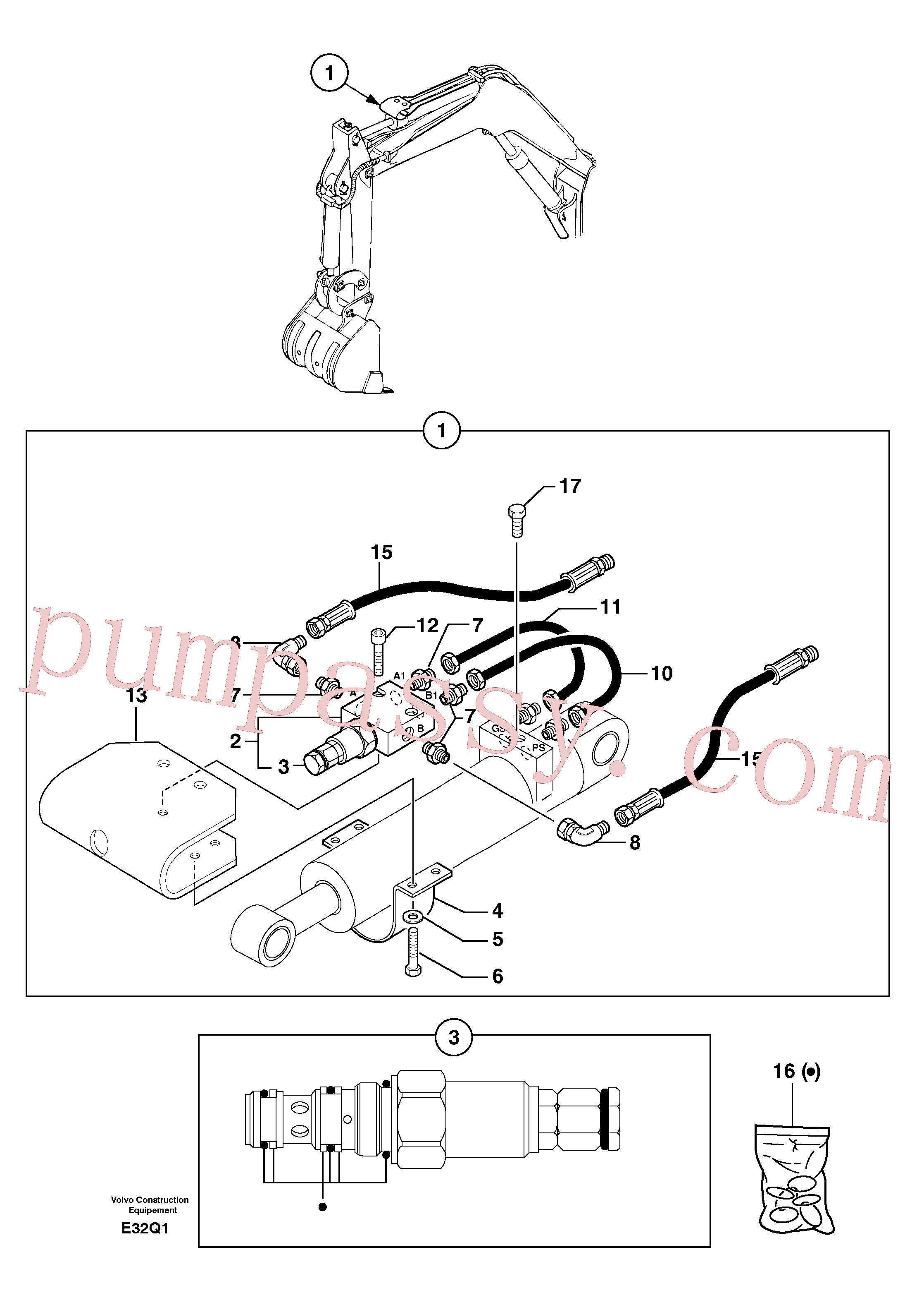 PJ5900213 for Volvo Safety valve ( dipper arm cylinder )(E32Q1 assembly)