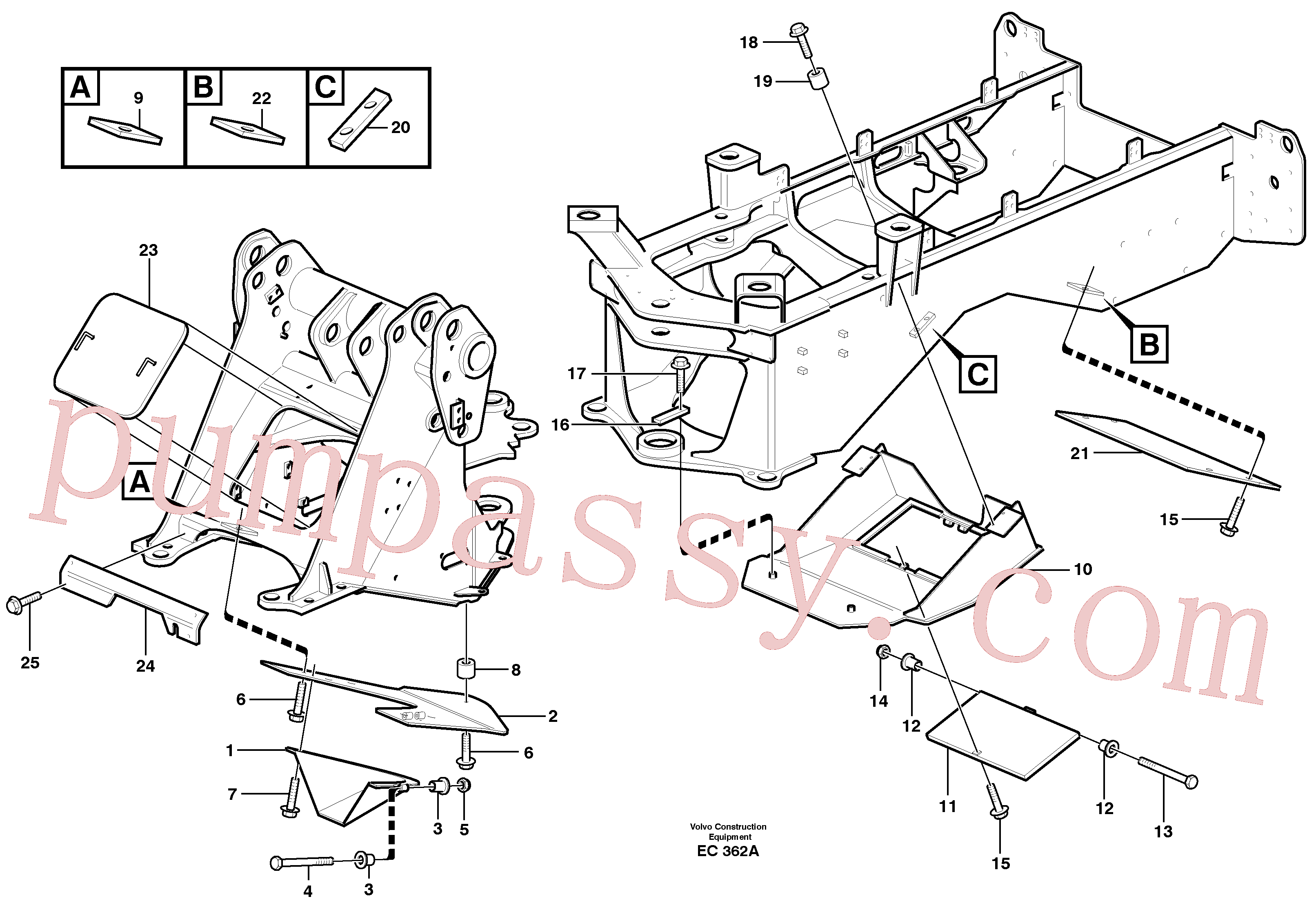 VOE949708 for Volvo Belly guard, front(EC362A assembly)