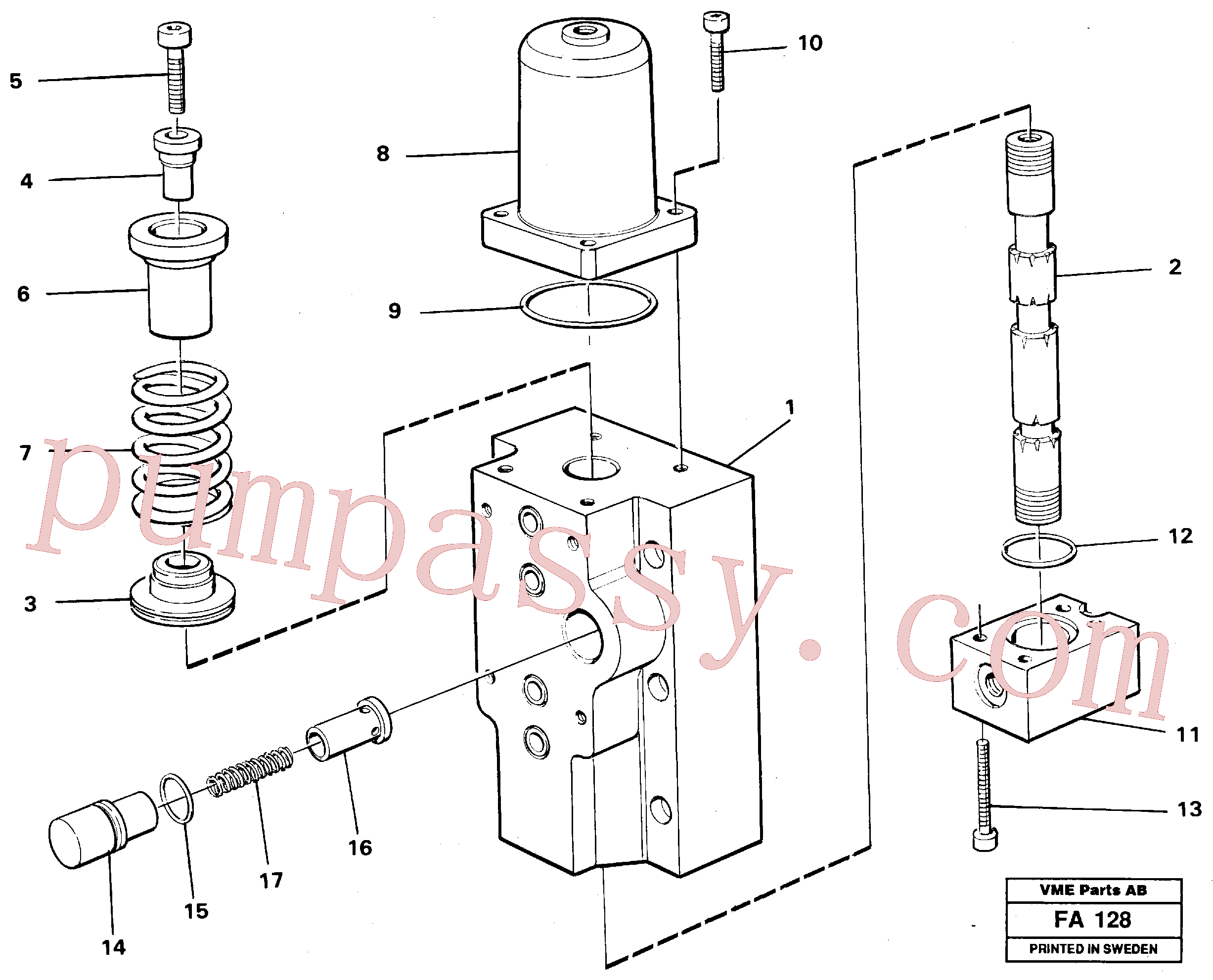 VOE14261818 for Volvo Four-way valve for hammer/shears, Four-way valves Primary(FA128 assembly)
