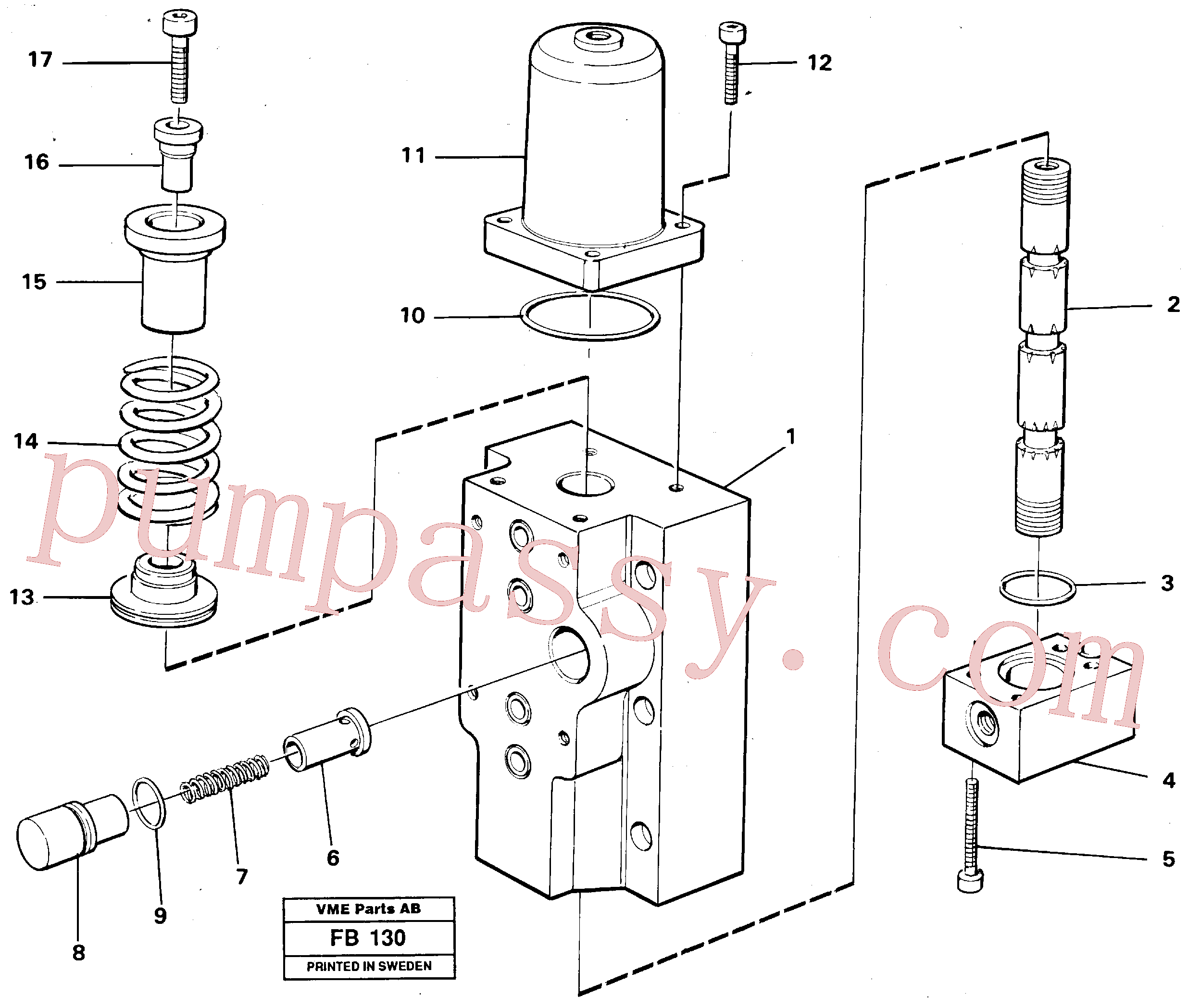 VOE14259278 for Volvo Four-way valve, Four-way valve Primary(FB130 assembly)