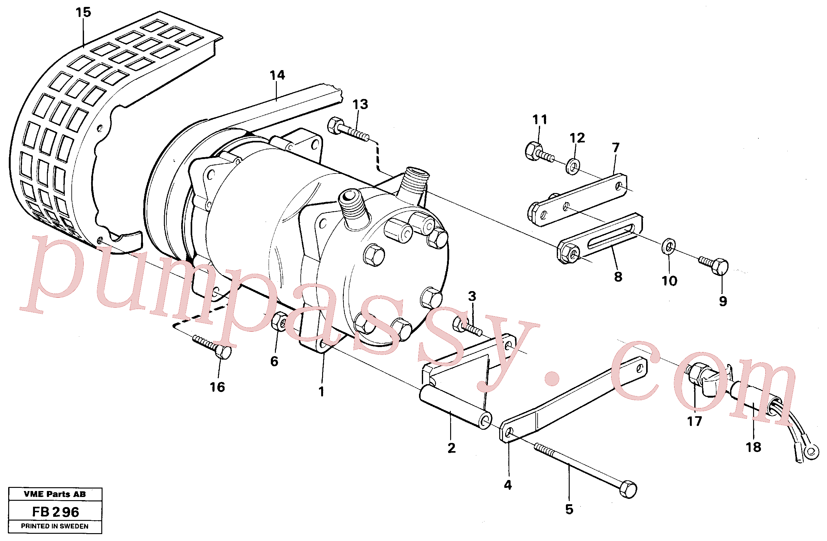 VOE14249723 for Volvo Compressor with fitting parts Cooling agent R12(FB296 assembly)