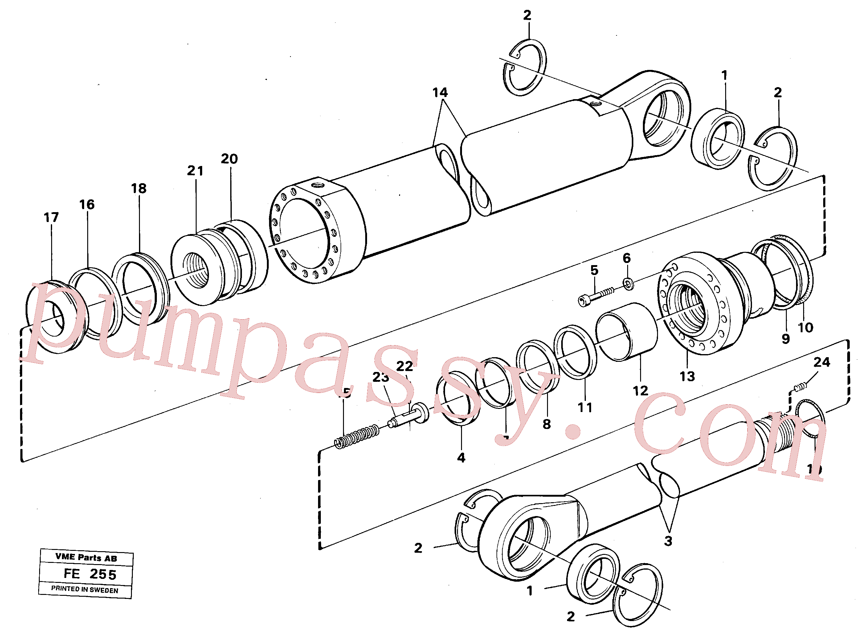 VOE13947999 for Volvo Boom- and bucket cylinder(FE255 assembly)