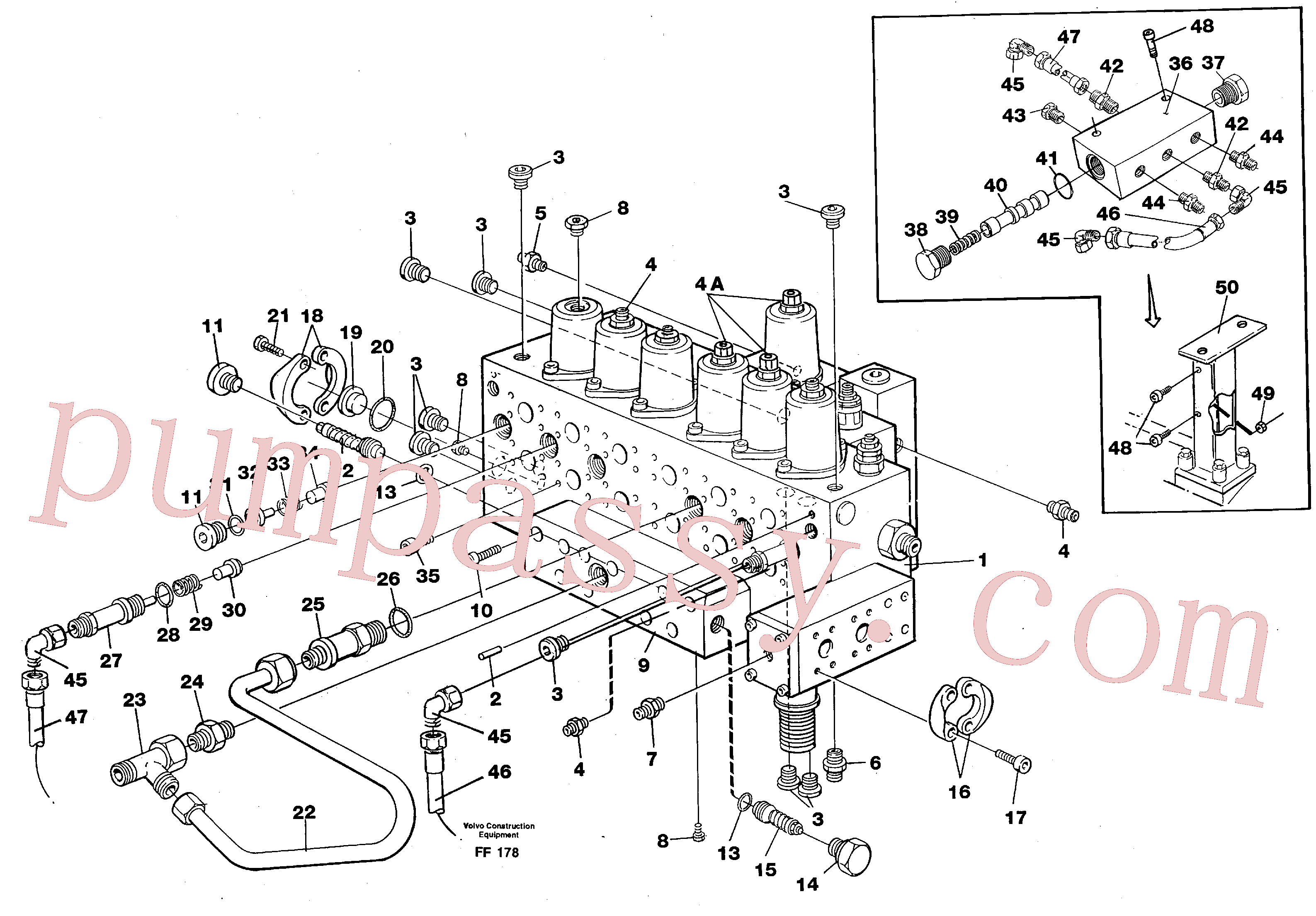 VOE990757 for Volvo Main valve assembly, tubes connections, assembly bloc(FF178 assembly)