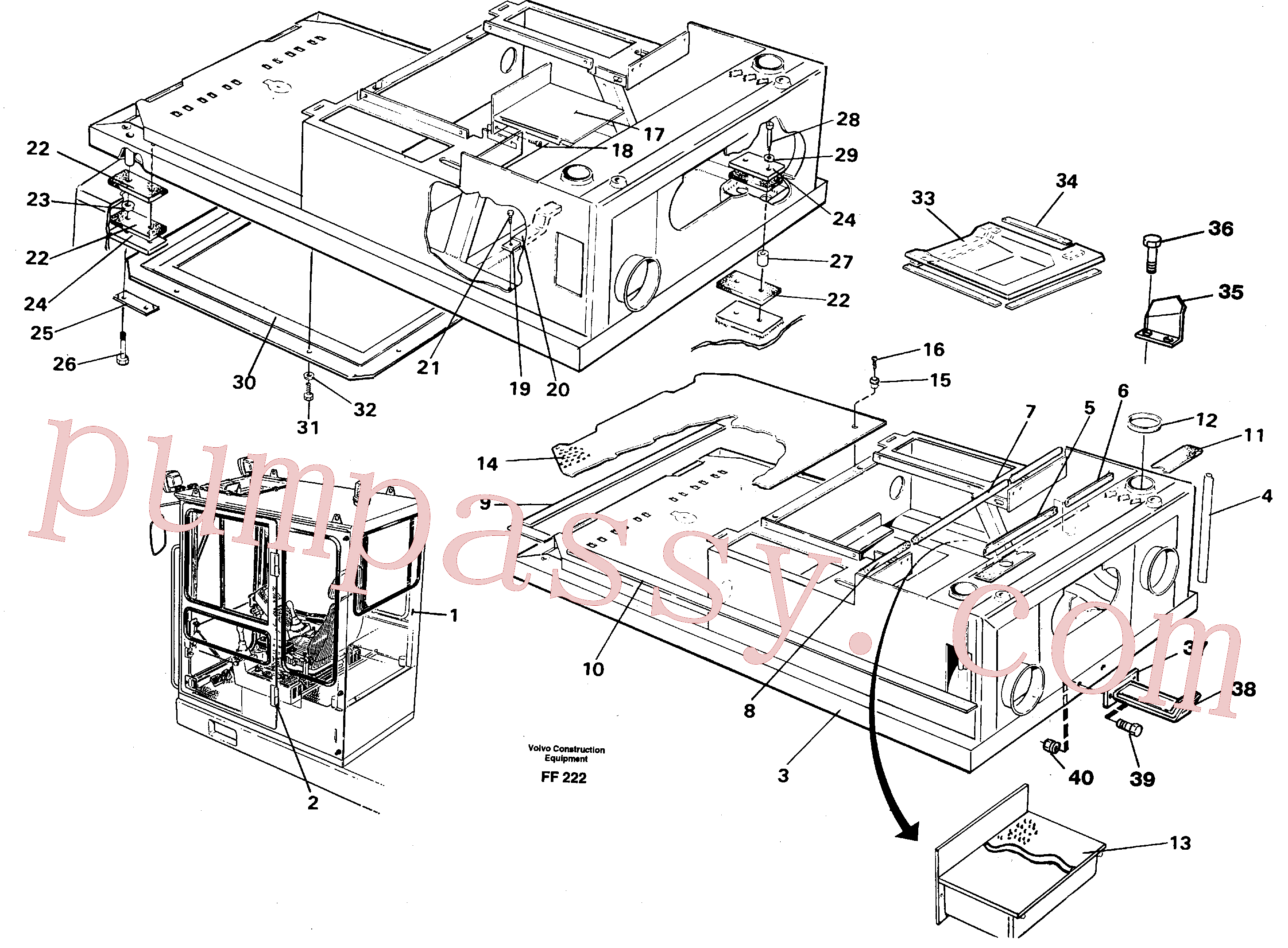 VOE959261 for Volvo Drivers cab and cabin floor(FF222 assembly)