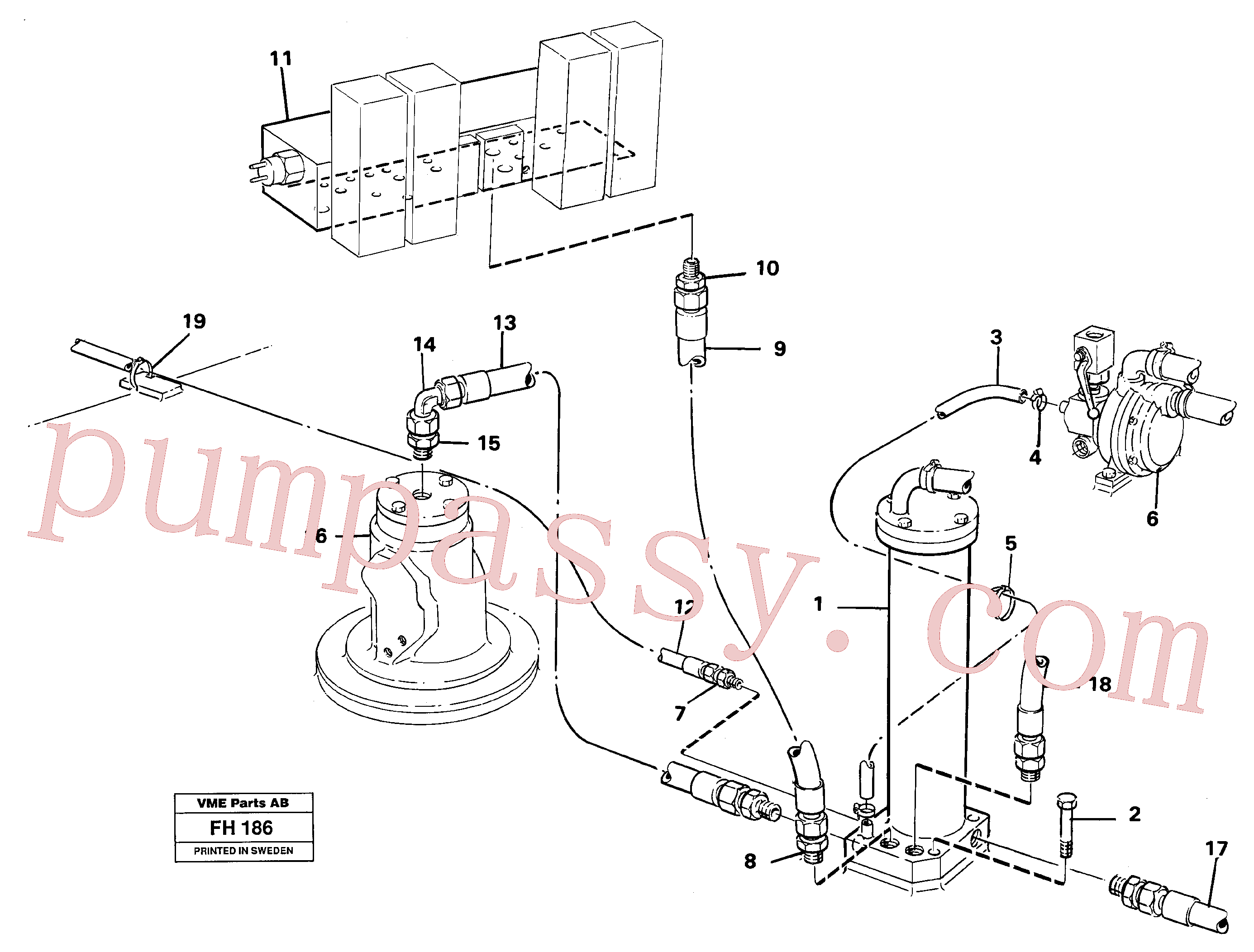 VOE14233336 for Volvo Leak oil filter, with connections(FH186 assembly)