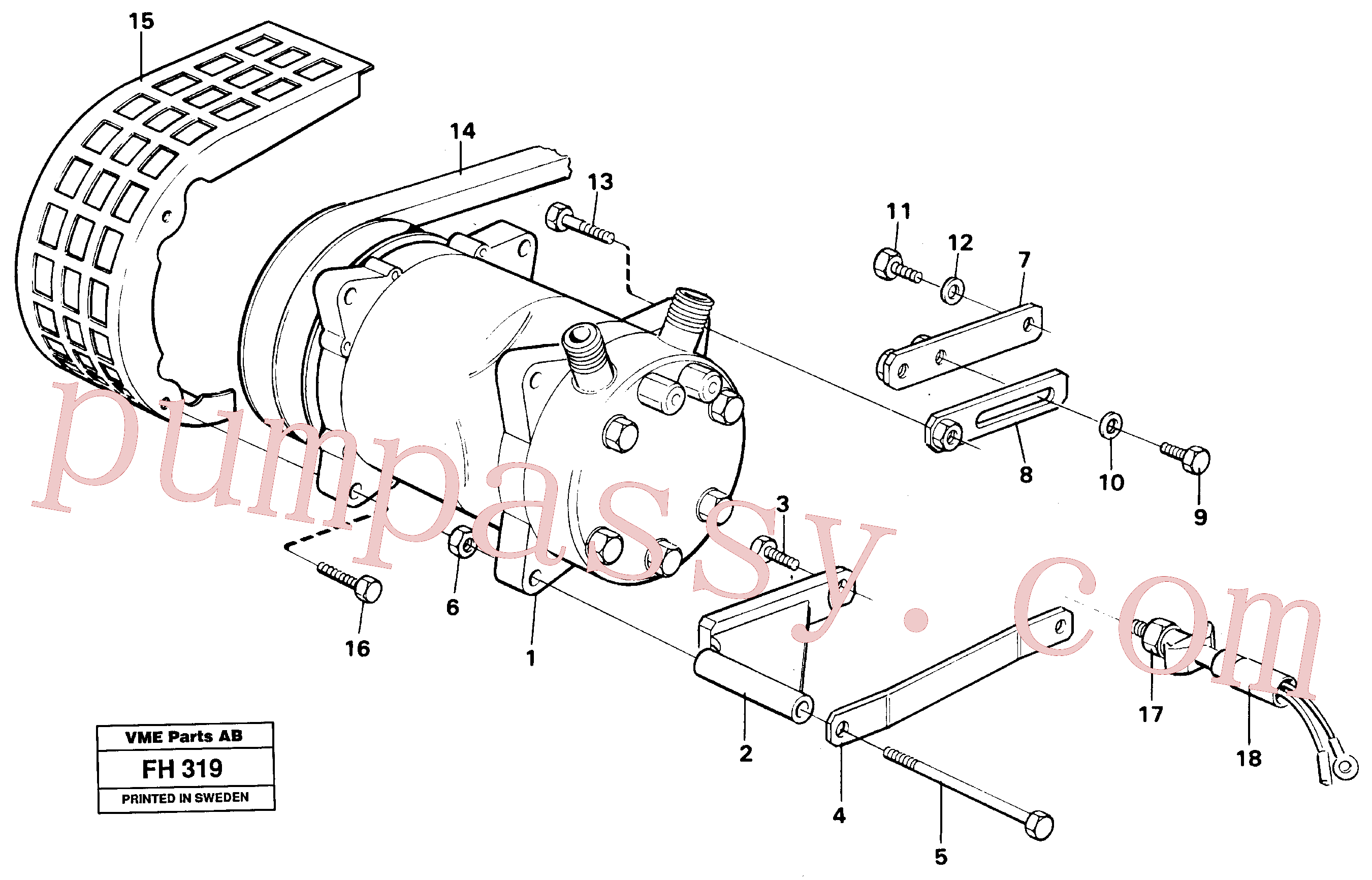 VOE14249723 for Volvo Compressor with fitting parts. cooling agent, R134a(FH319 assembly)