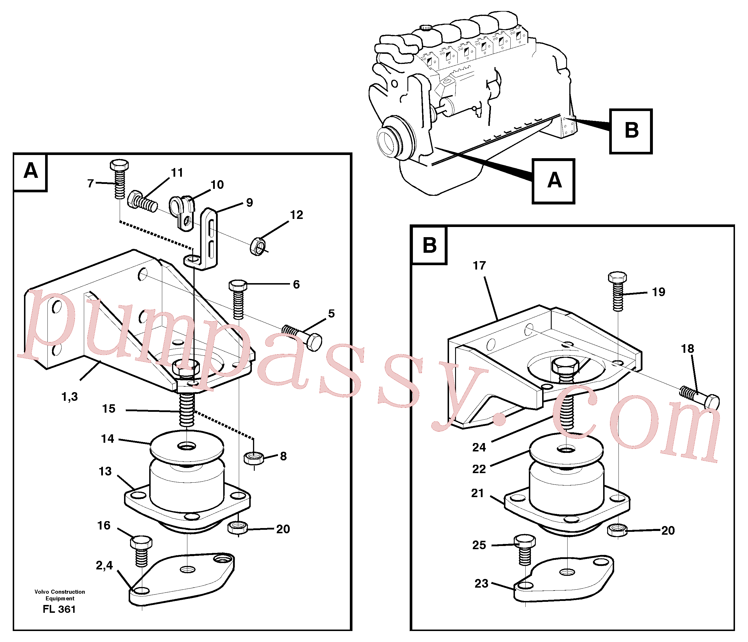 VOE13965220 for Volvo Engine mounting(FL361 assembly)