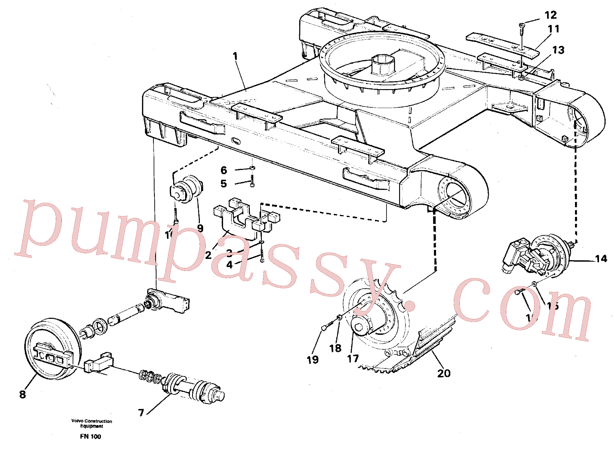 PJ4460047 for Volvo Undercarriage(FN100 assembly)