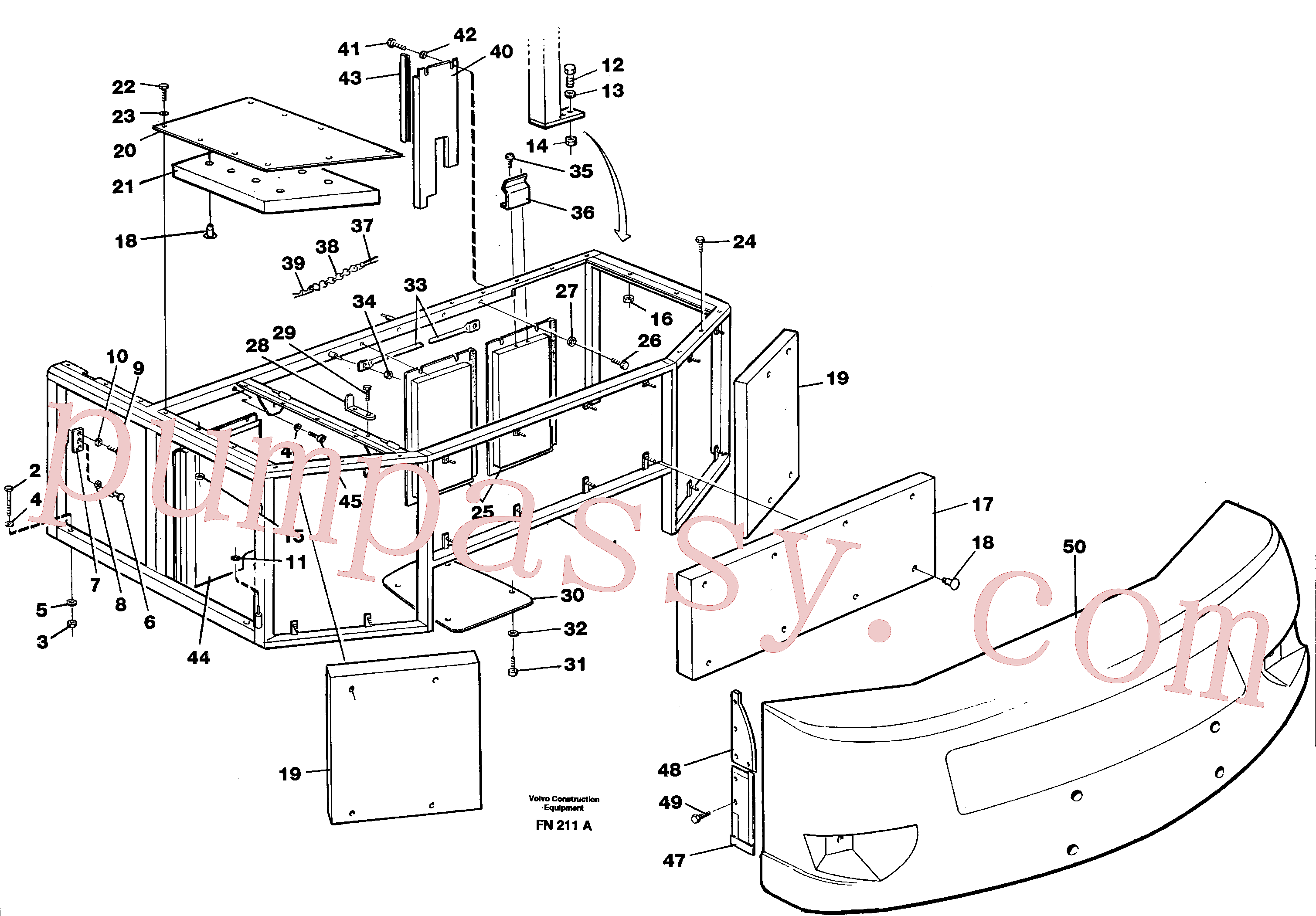 VOE14088076 for Volvo Support, cover plates, rear(FN211A assembly)