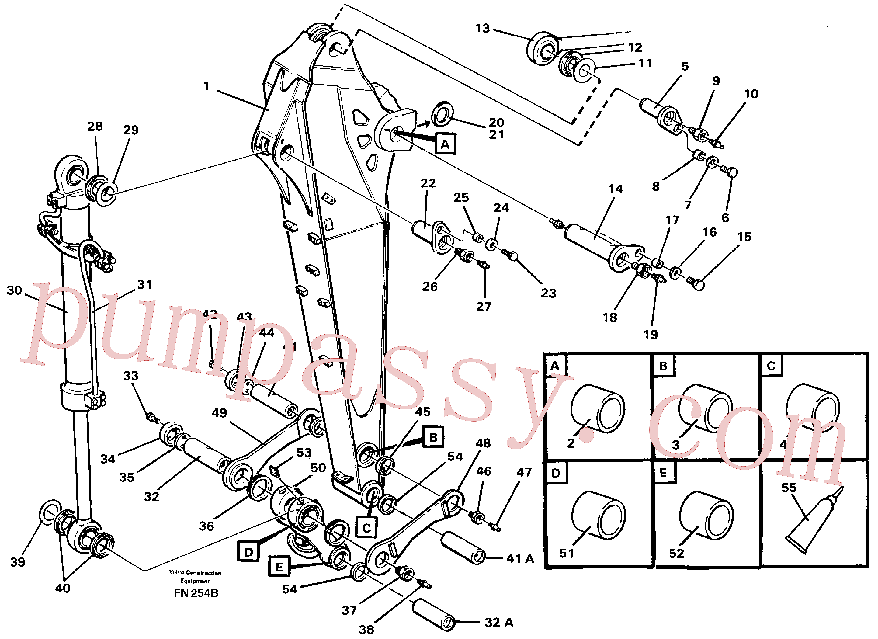 VOE14014630 for Volvo Dipper arm with connections, 2.0 m/2.4 m(FN254B assembly)