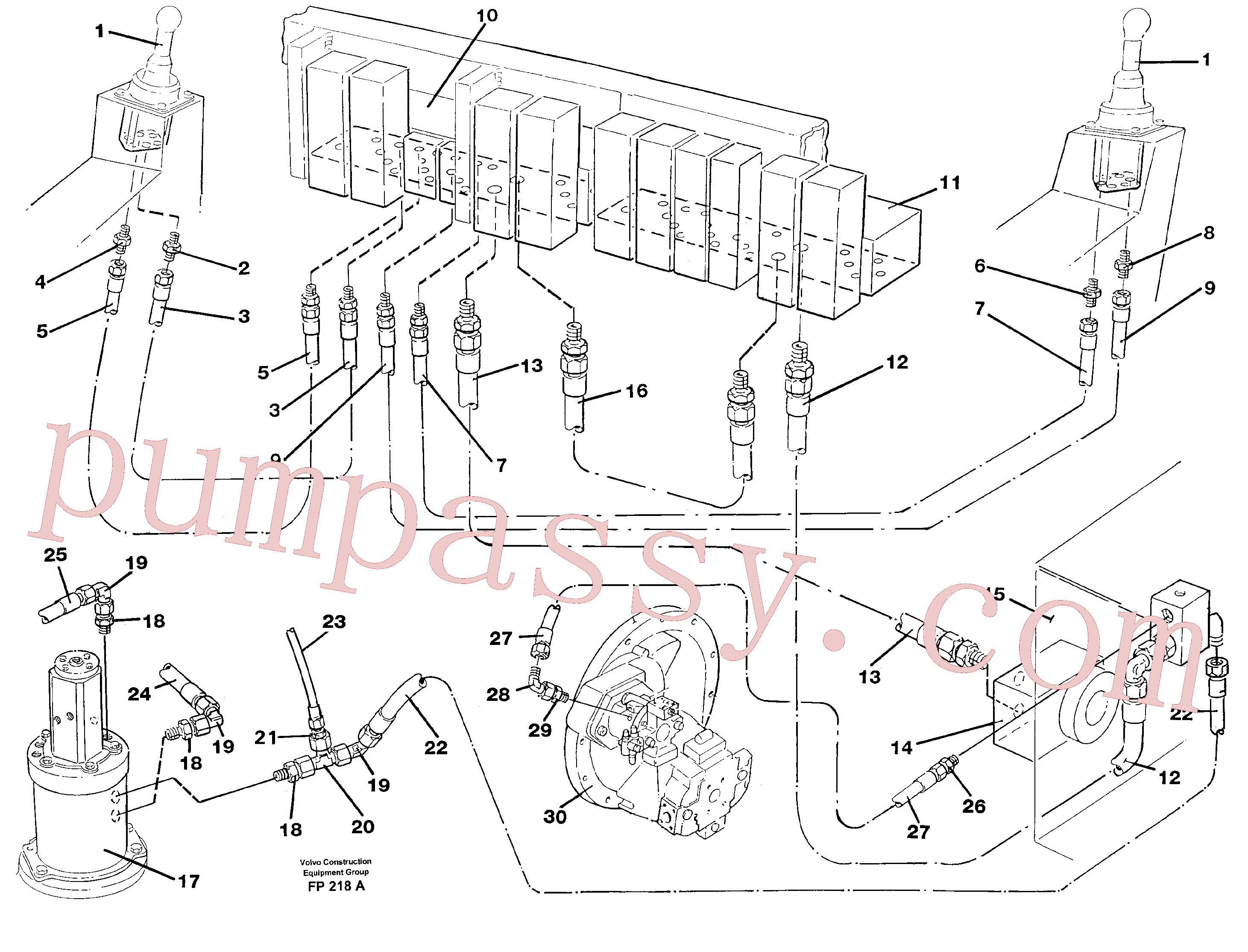 VOE14245621 for Volvo Servo pressure hydraulicsand tank back-flow lines(FP218A assembly)