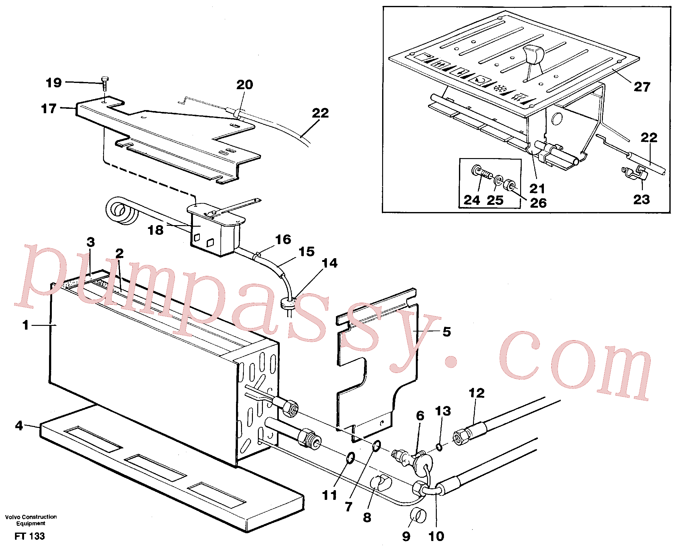 VOE14248832 for Volvo Evaporator with fitting parts, cooling agent R134a(FT133 assembly)