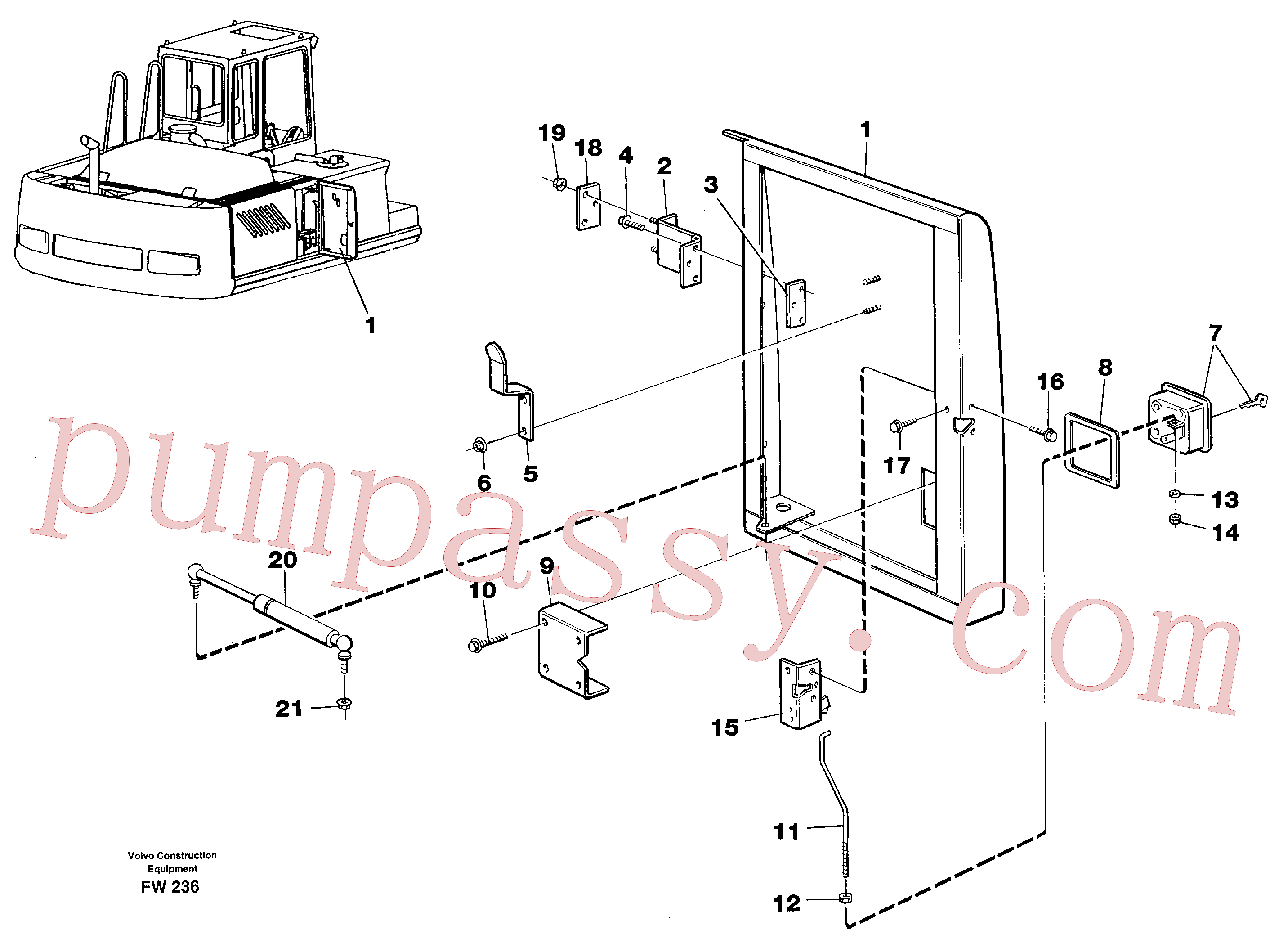 VOE971319 for Volvo Door, centre, right(FW236 assembly)