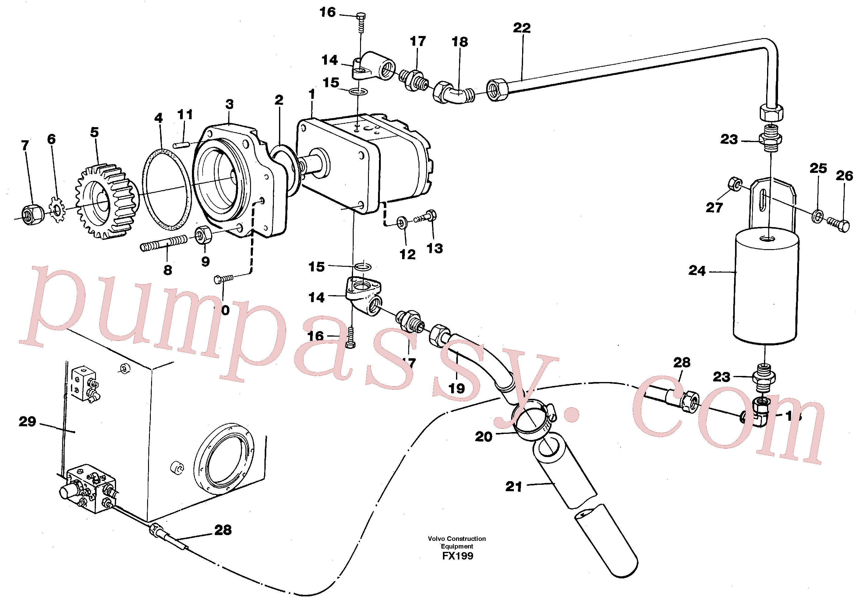 VOE13961671 for Volvo Servo pump(FX199 assembly)