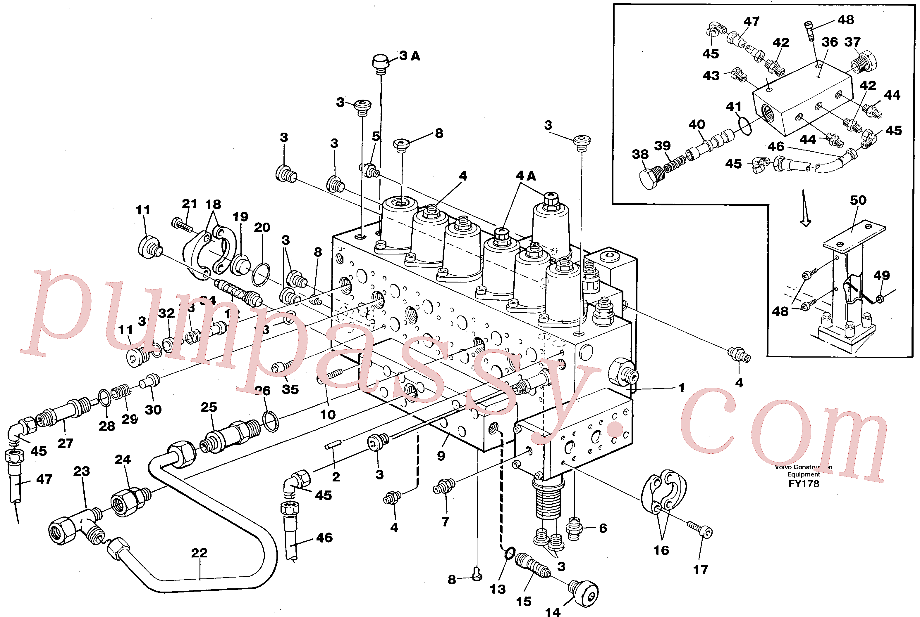 VOE14211859 for Volvo Main valve assembly, tubes connections, assembly bloc(FY178 assembly)