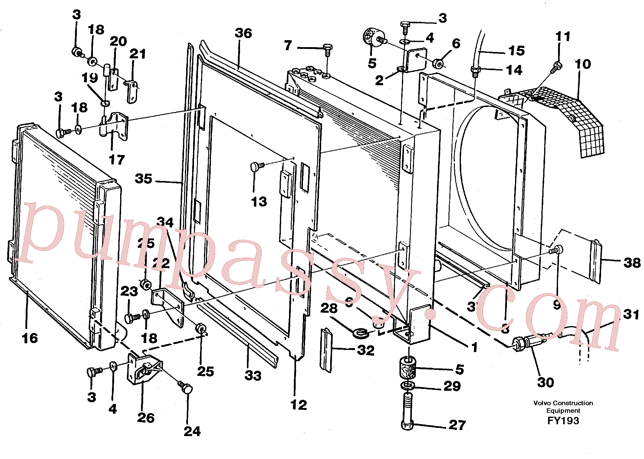 VOE14259136 for Volvo Hydraulic oil cooler(FY193 assembly)