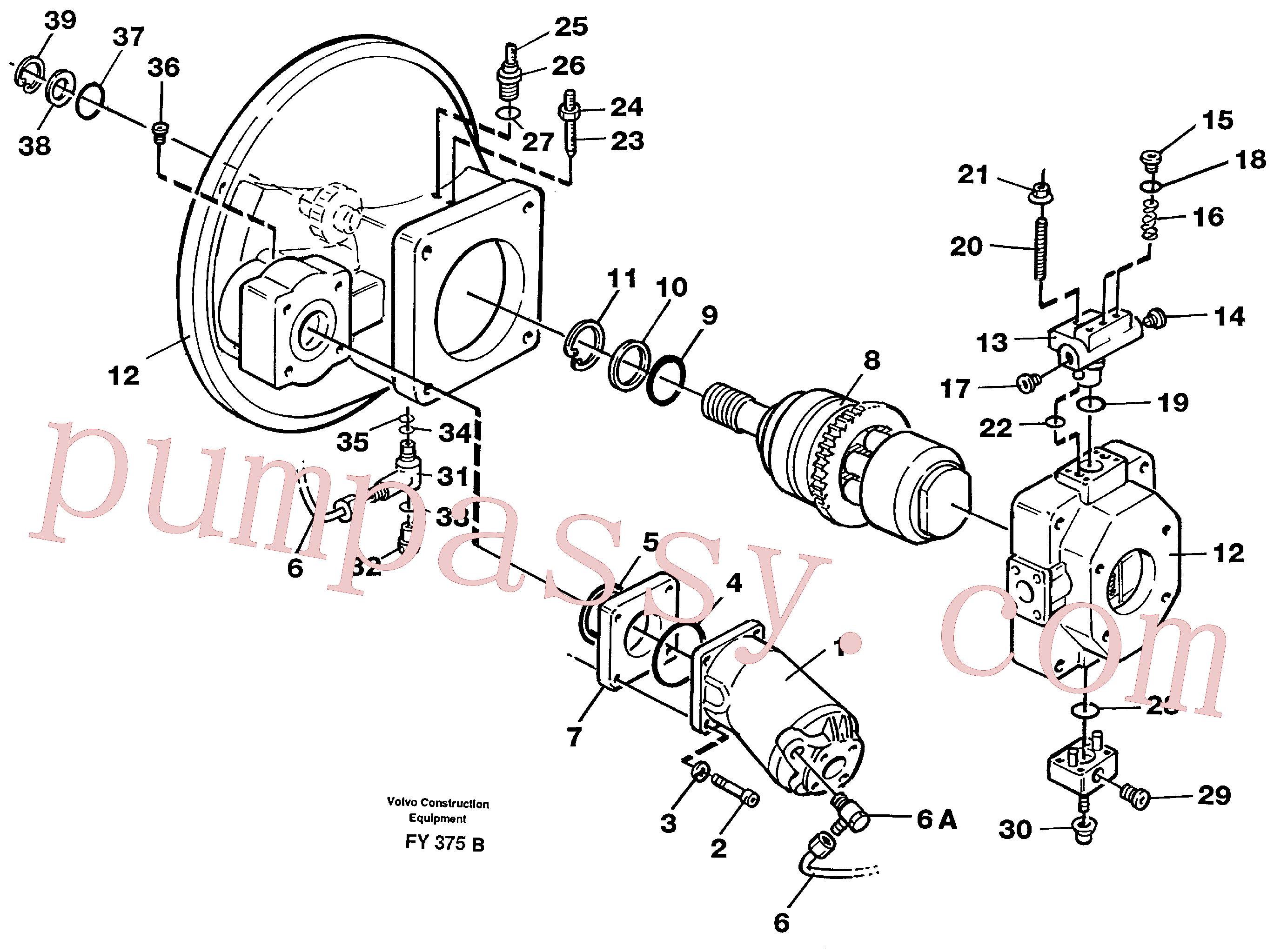 VOE14016903 for Volvo Pump gear box(FY375B assembly)