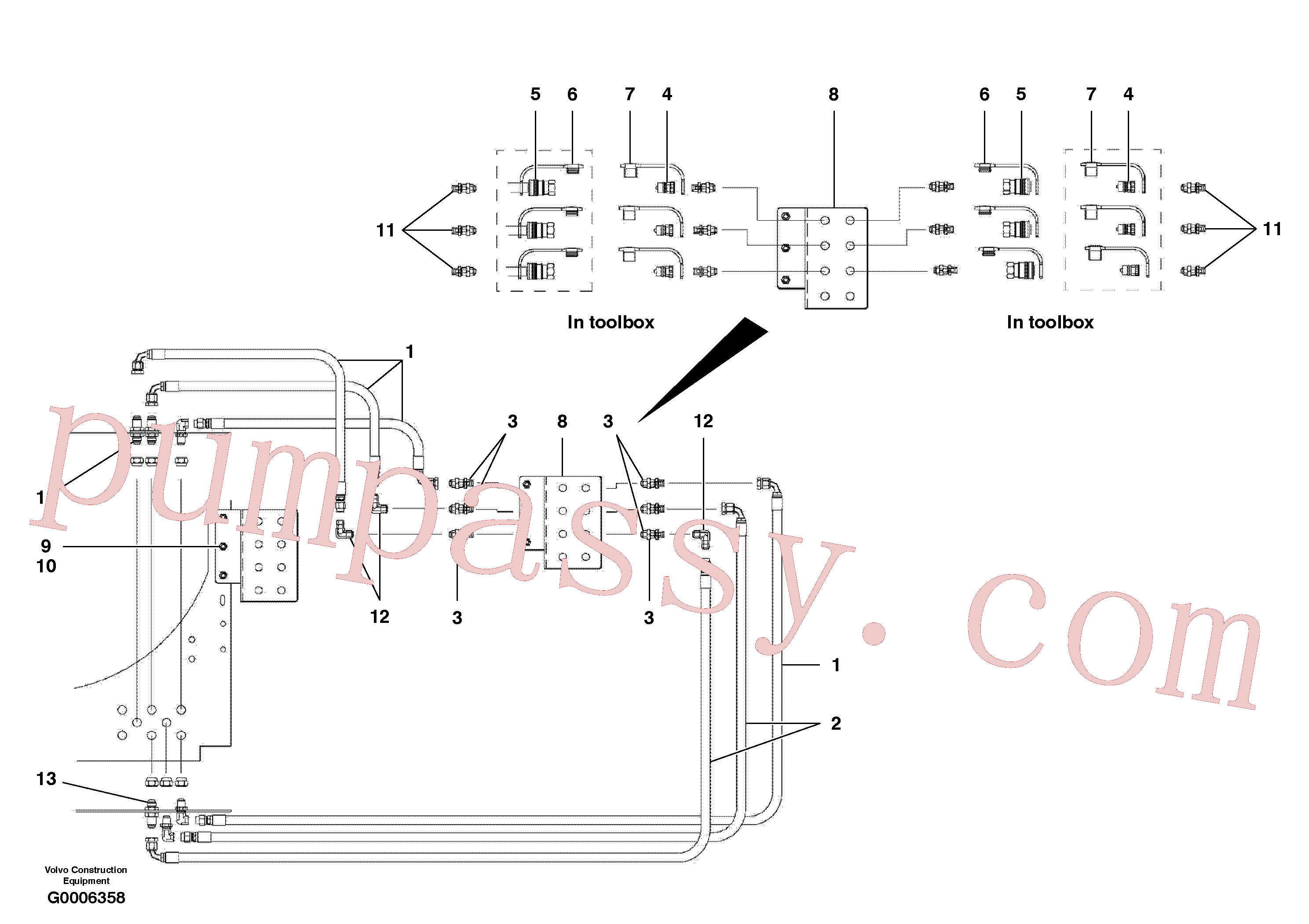 CH350A-10030ZI for Volvo Rear auxilary hydraulic circuit - quick disconnect(G0006358 assembly)