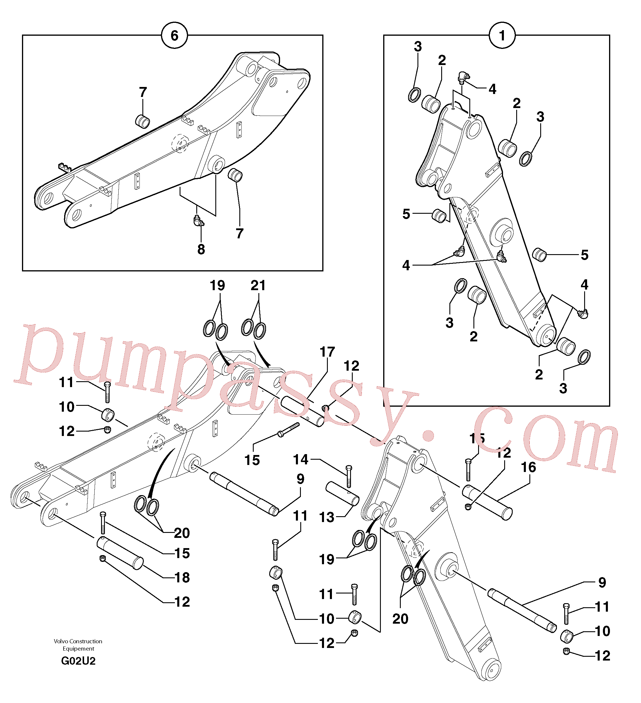 PJ3750052 Stub Axle for Volvo Excavator Parts
