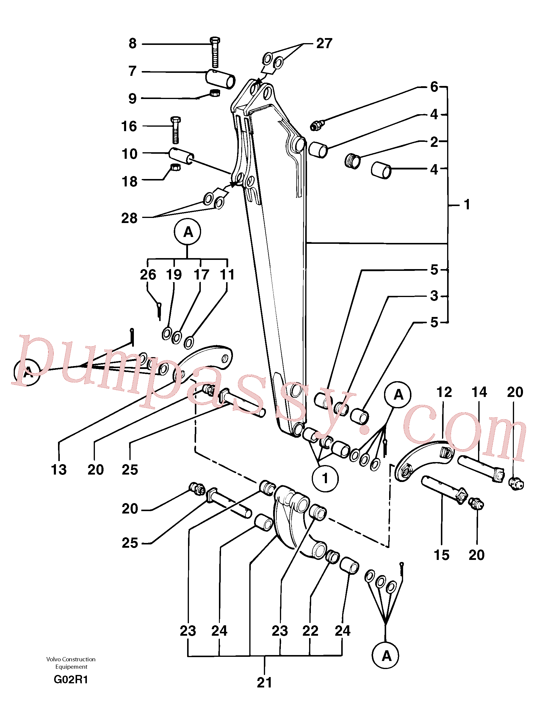 VOE11805825 for Volvo Dipper arm(G02R1 assembly)