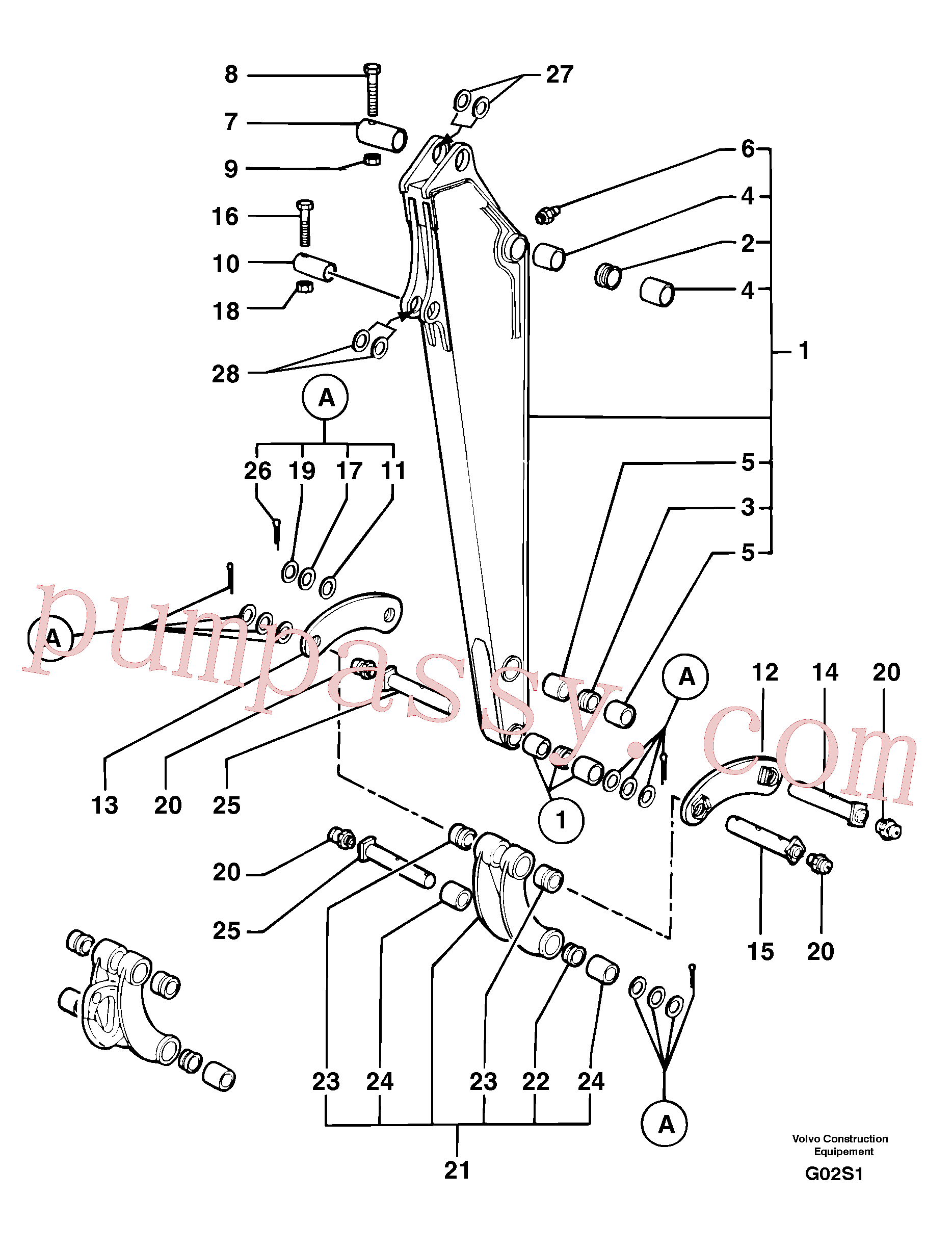 PJ3750015 for Volvo Dipper arm(G02S1 assembly)