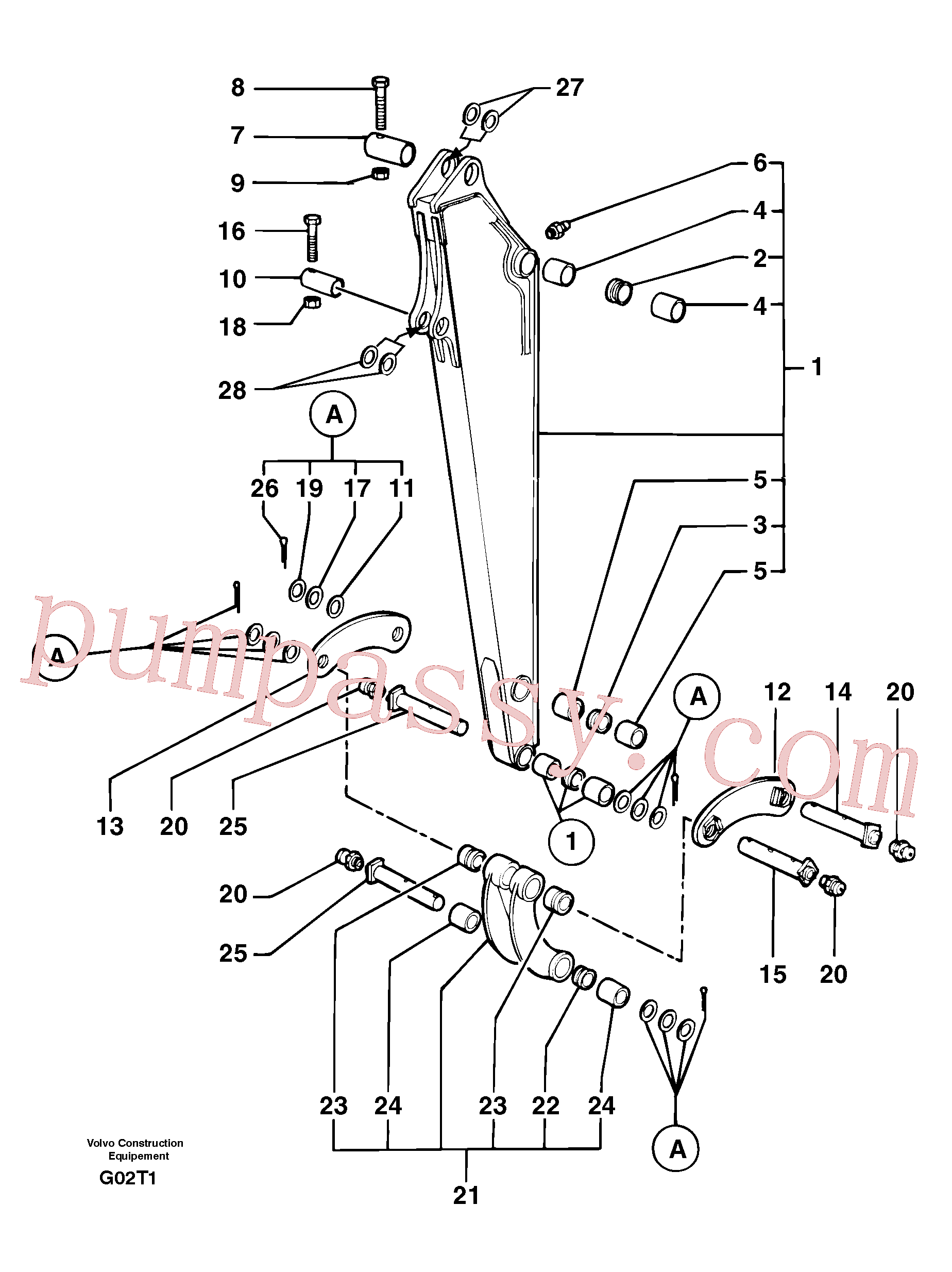 VOE11805825 for Volvo Dipper arm(G02T1 assembly)