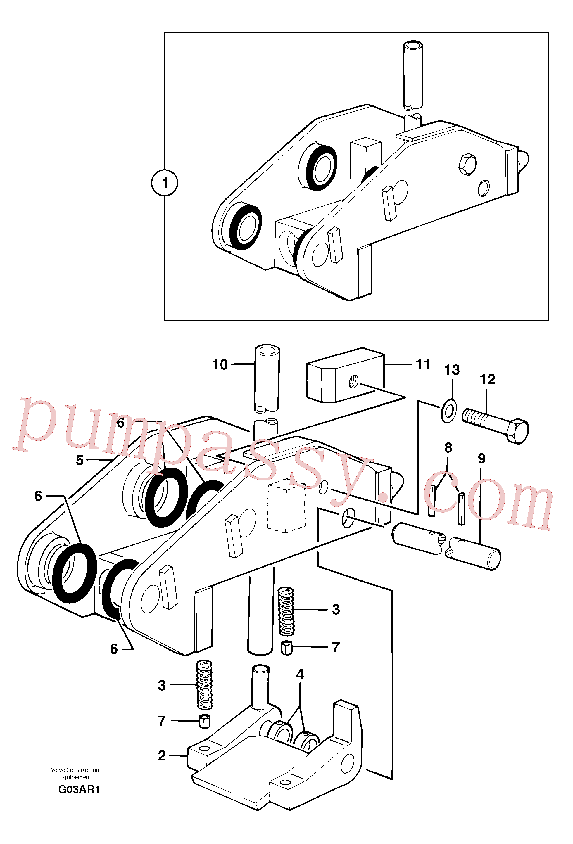 VOE11803844 for Volvo Tool holder / mechanical control(G03AR1 assembly)