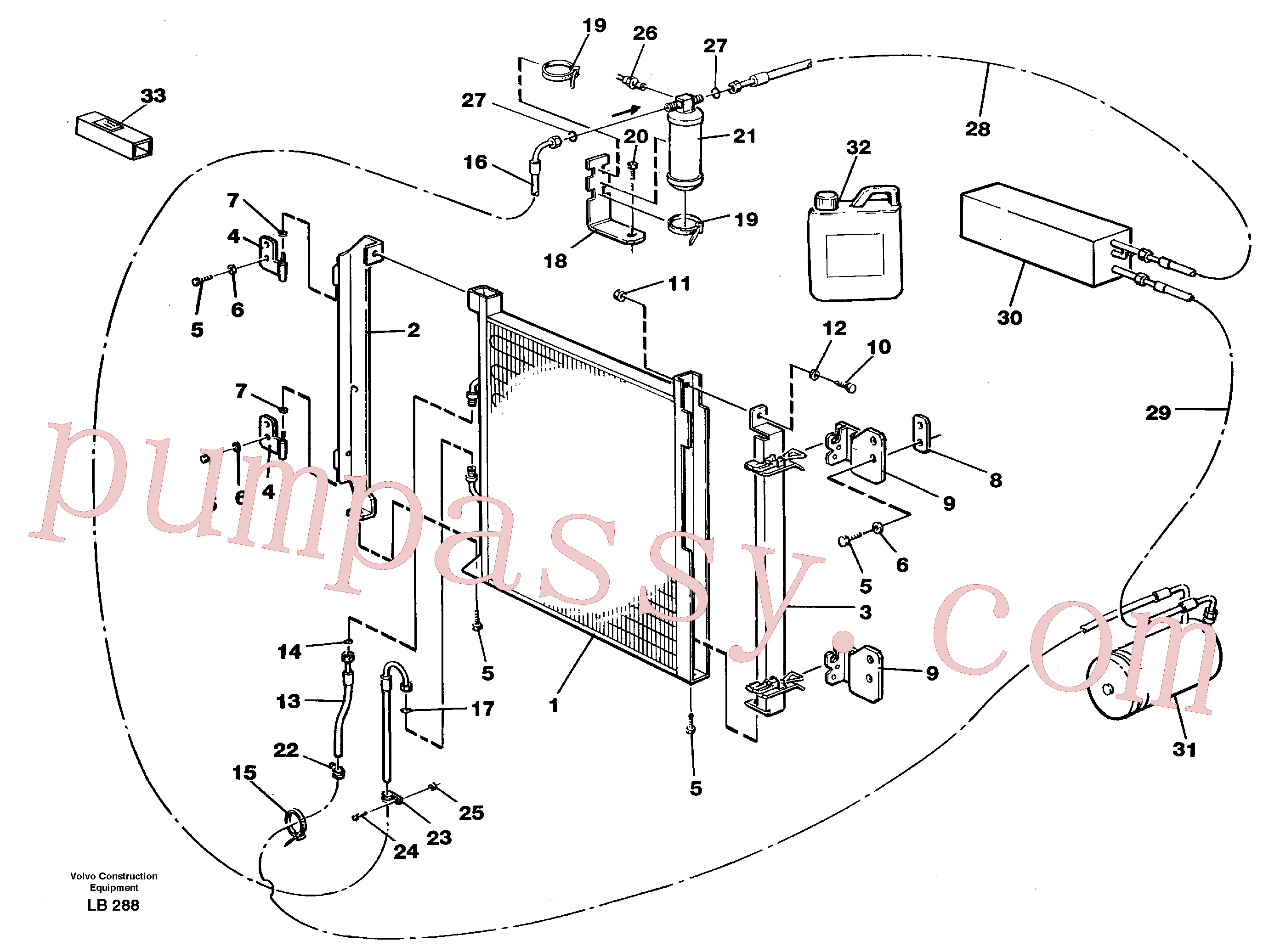 VOE952630 for Volvo Condensor with fitting parts, cooling agent R134a(LB288 assembly)