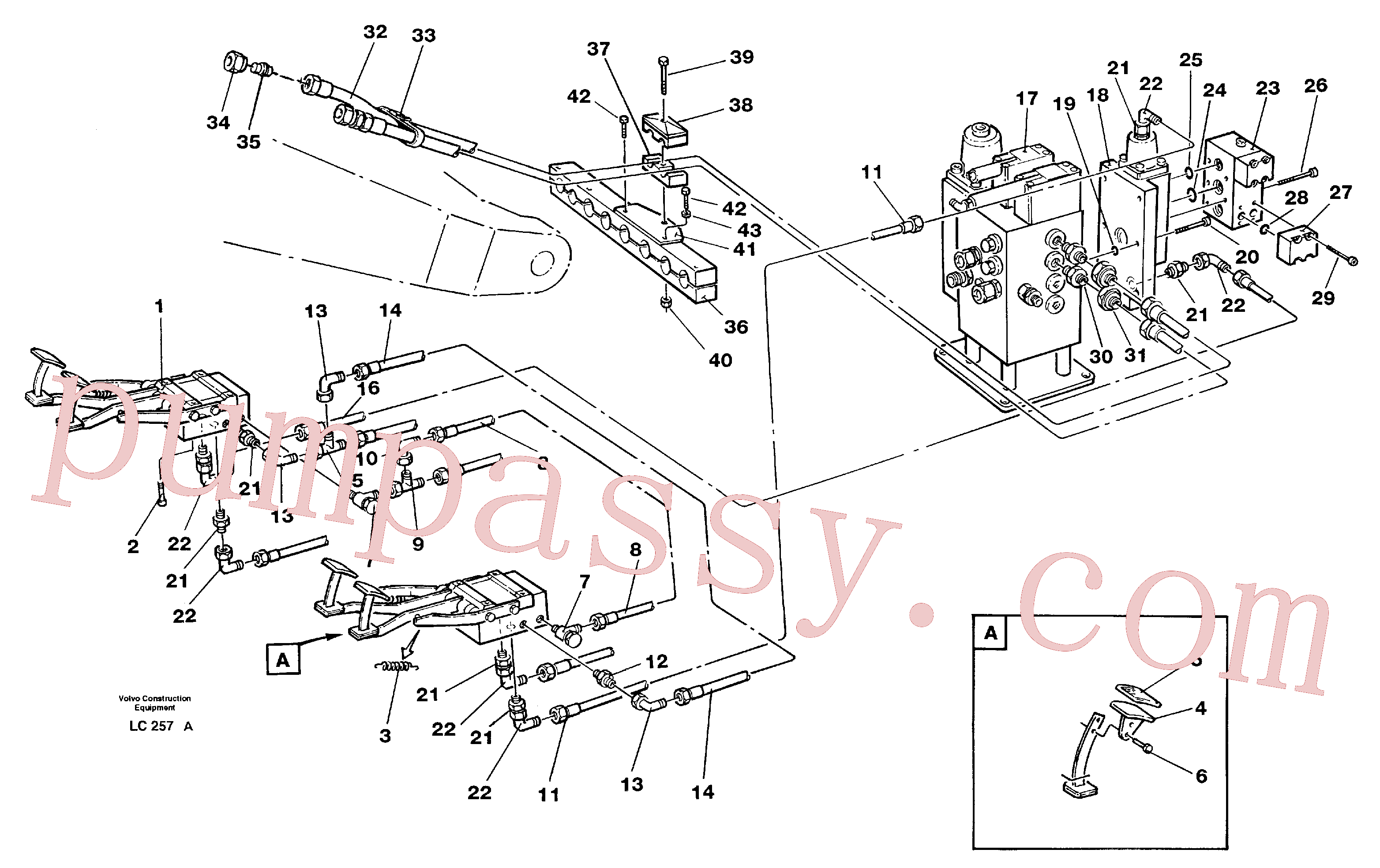 VOE14012454 for Volvo Pedal operated slope bucket hydraulics in base machine(LC257A assembly)