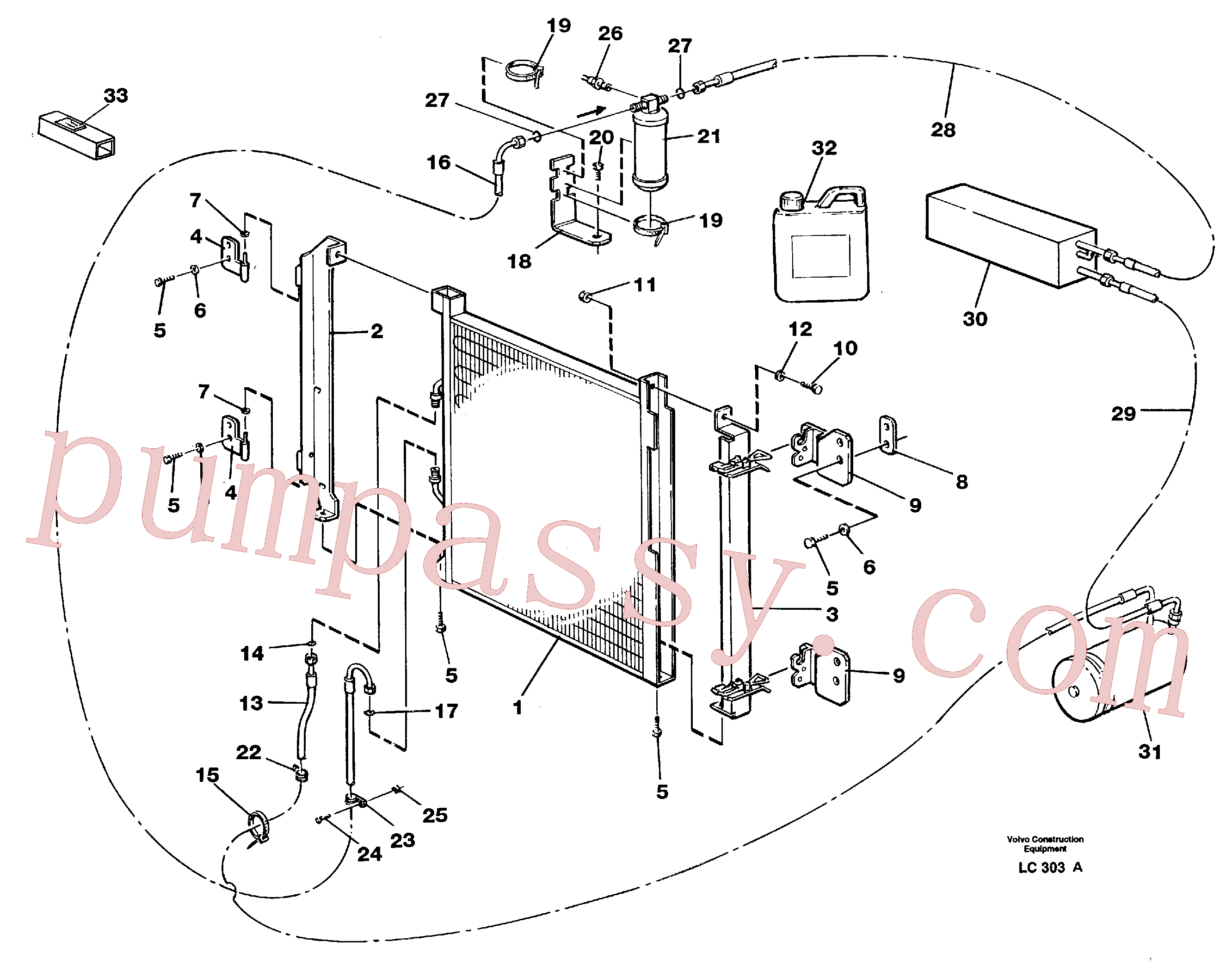 VOE952630 for Volvo Condensor with fitting parts, cooling agent R134a(LC303A assembly)