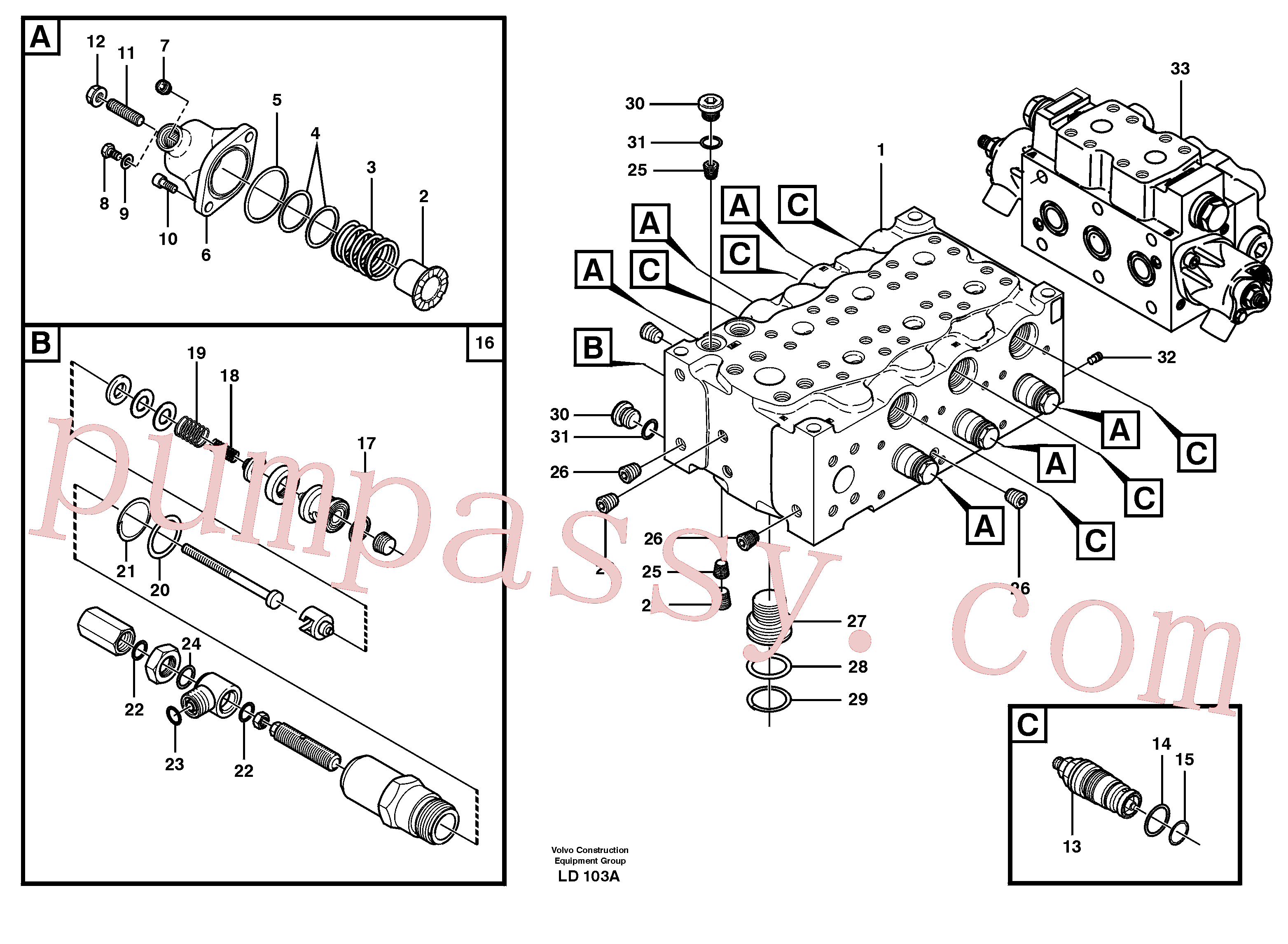 VOE11704825 for Volvo Main valve assembly, A(LD103A assembly)