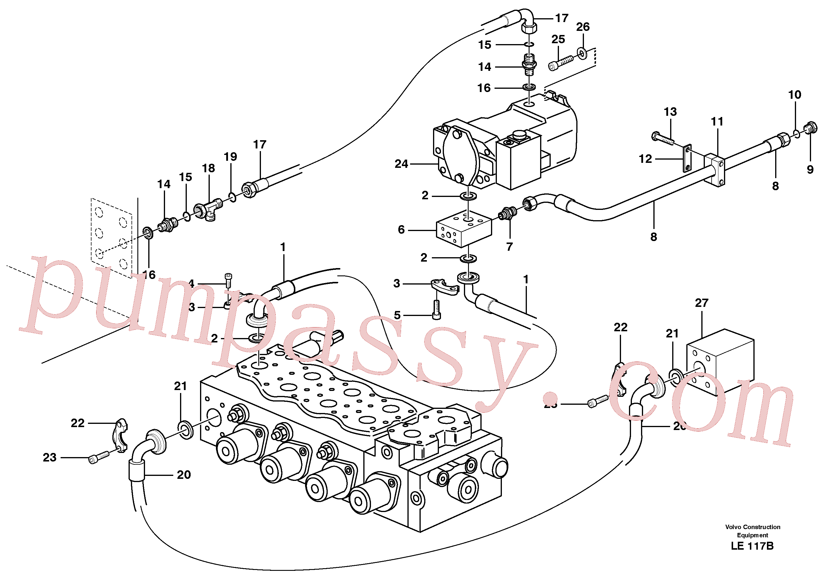VOE2811421 for Volvo Hydraulic system, feed line(LE117B assembly)