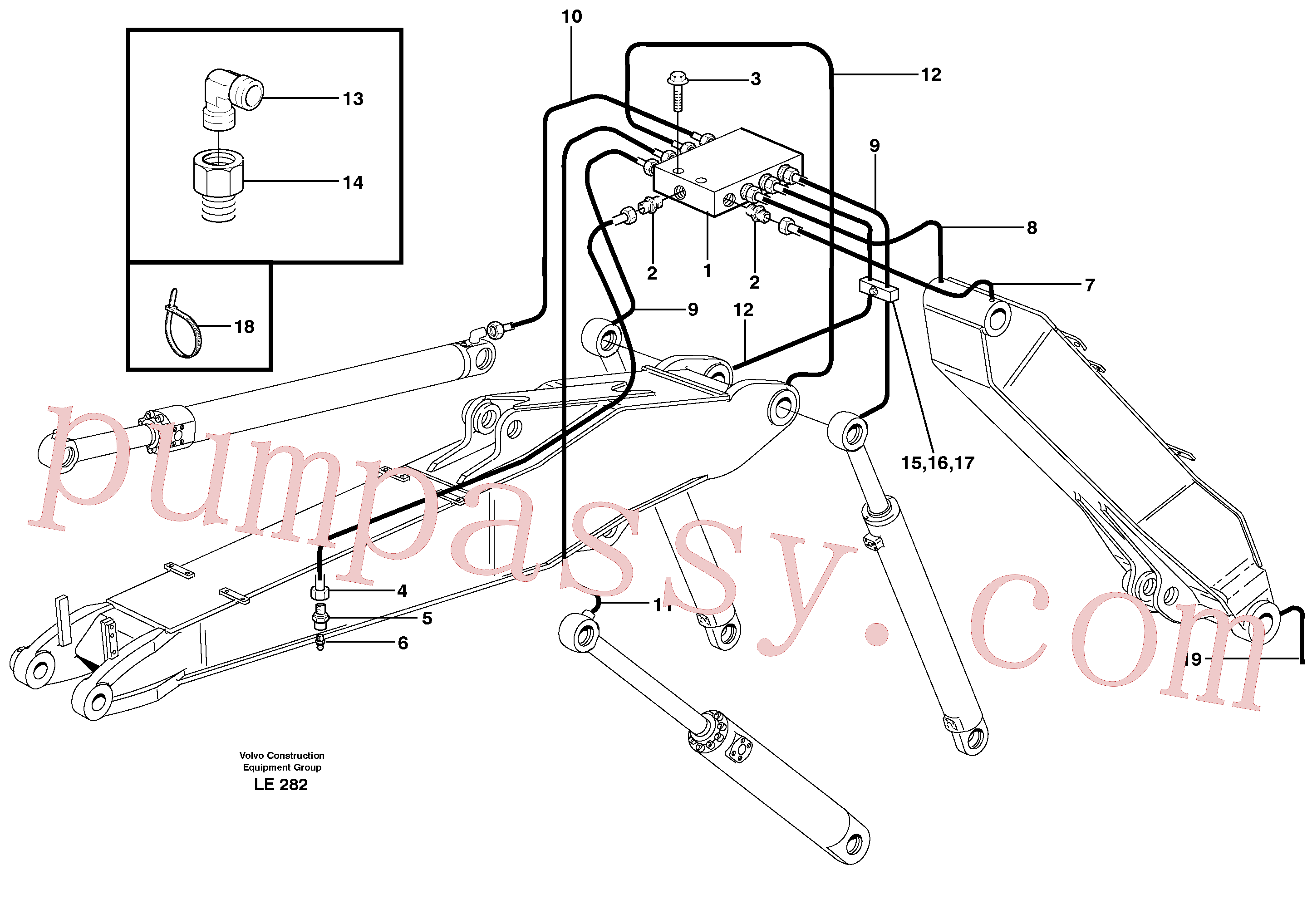 VOE14370344 for Volvo Central lubrication, adjustable boom(LE282 assembly)