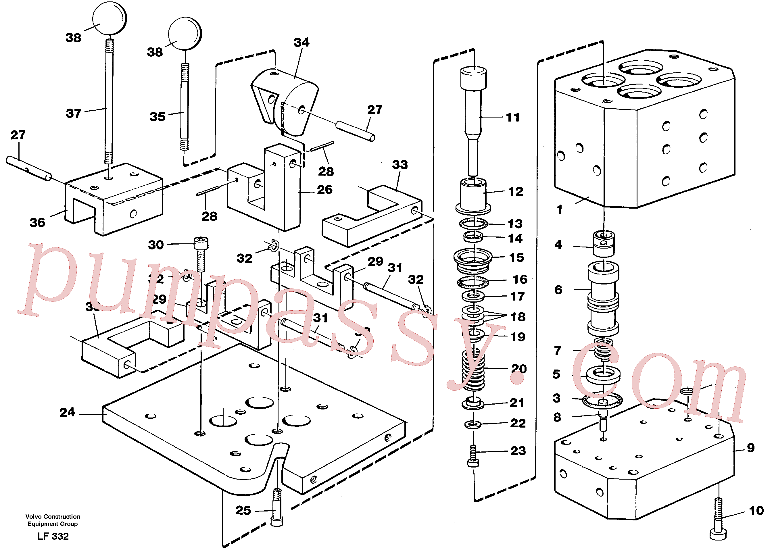 VOE6635902 for Volvo Control pressure valve(LF332 assembly)