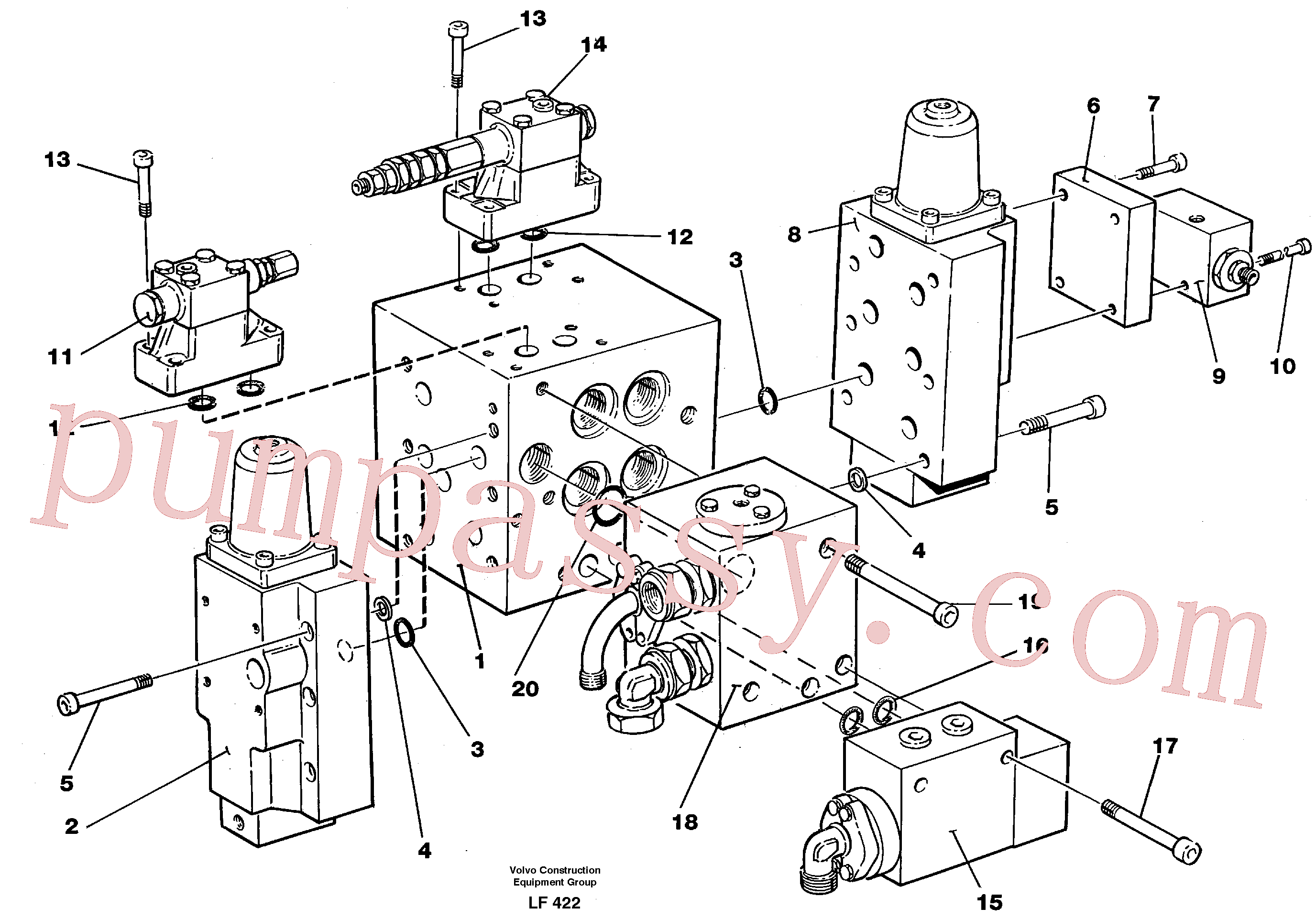 VOE959261 for Volvo Slew valve assembly Valves(LF422 assembly)