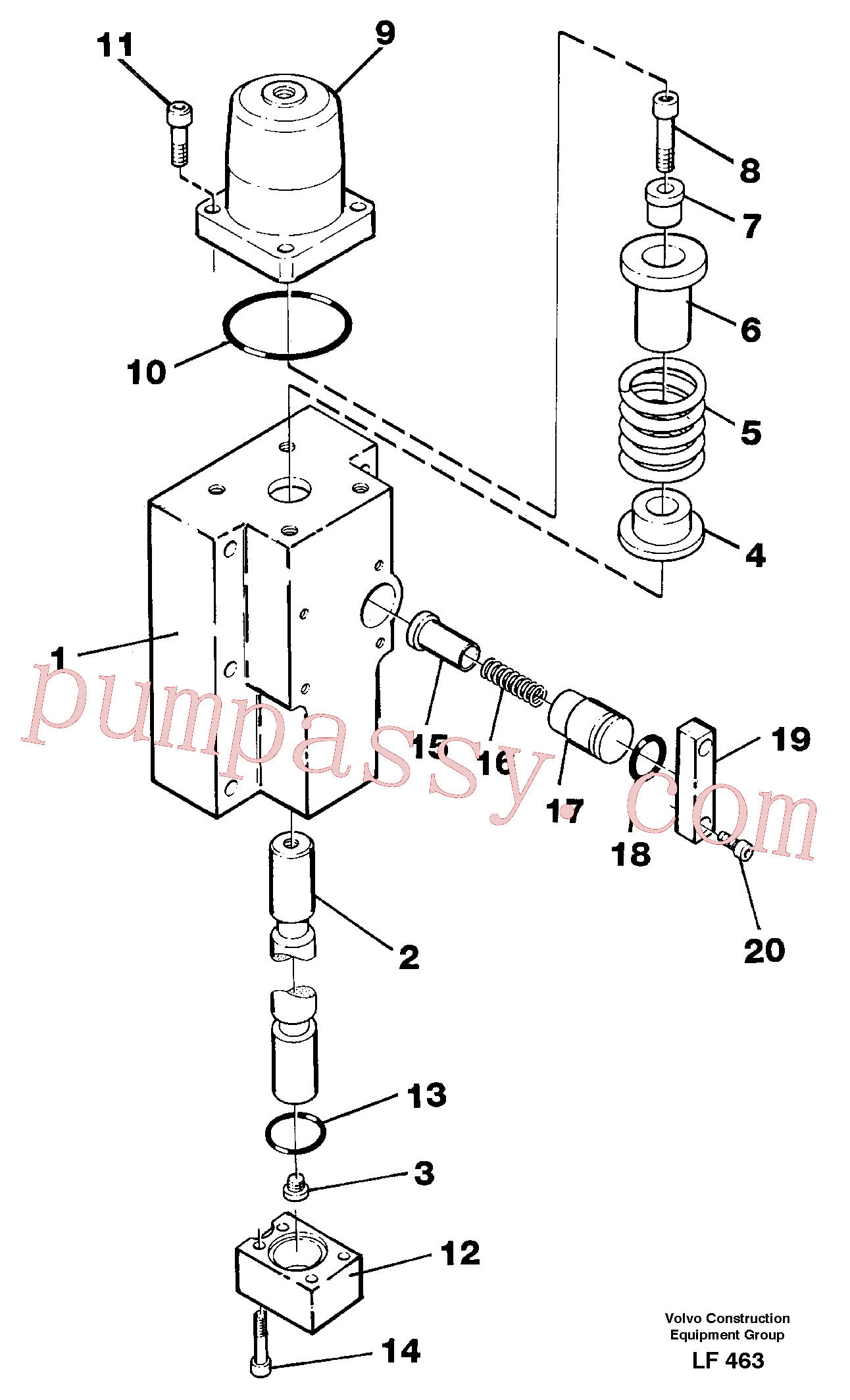 VOE14259278 for Volvo Four-way valve(LF463 assembly)