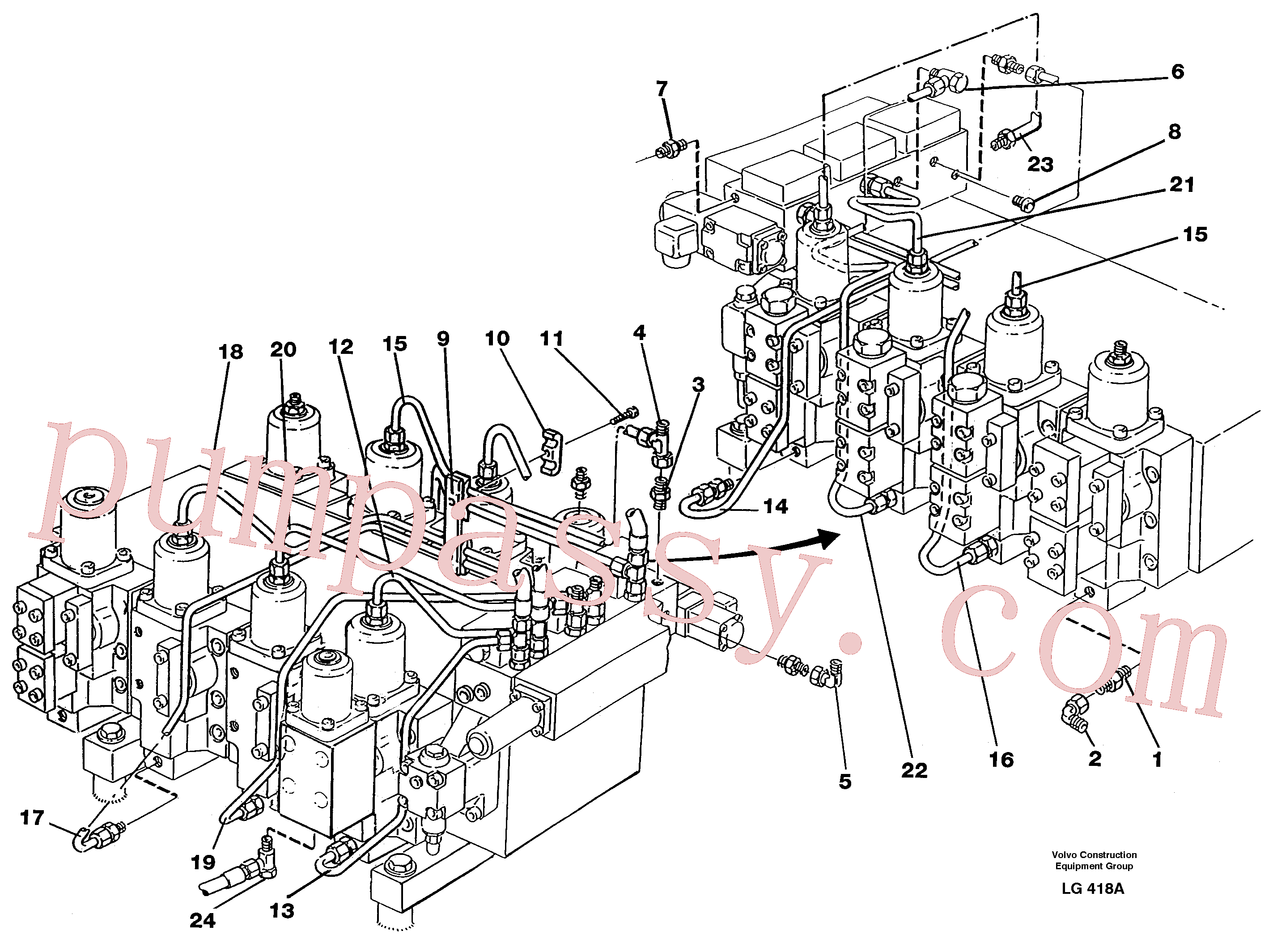 VOE957122 for Volvo Main valve assembly, tubes connections(LG418A assembly)
