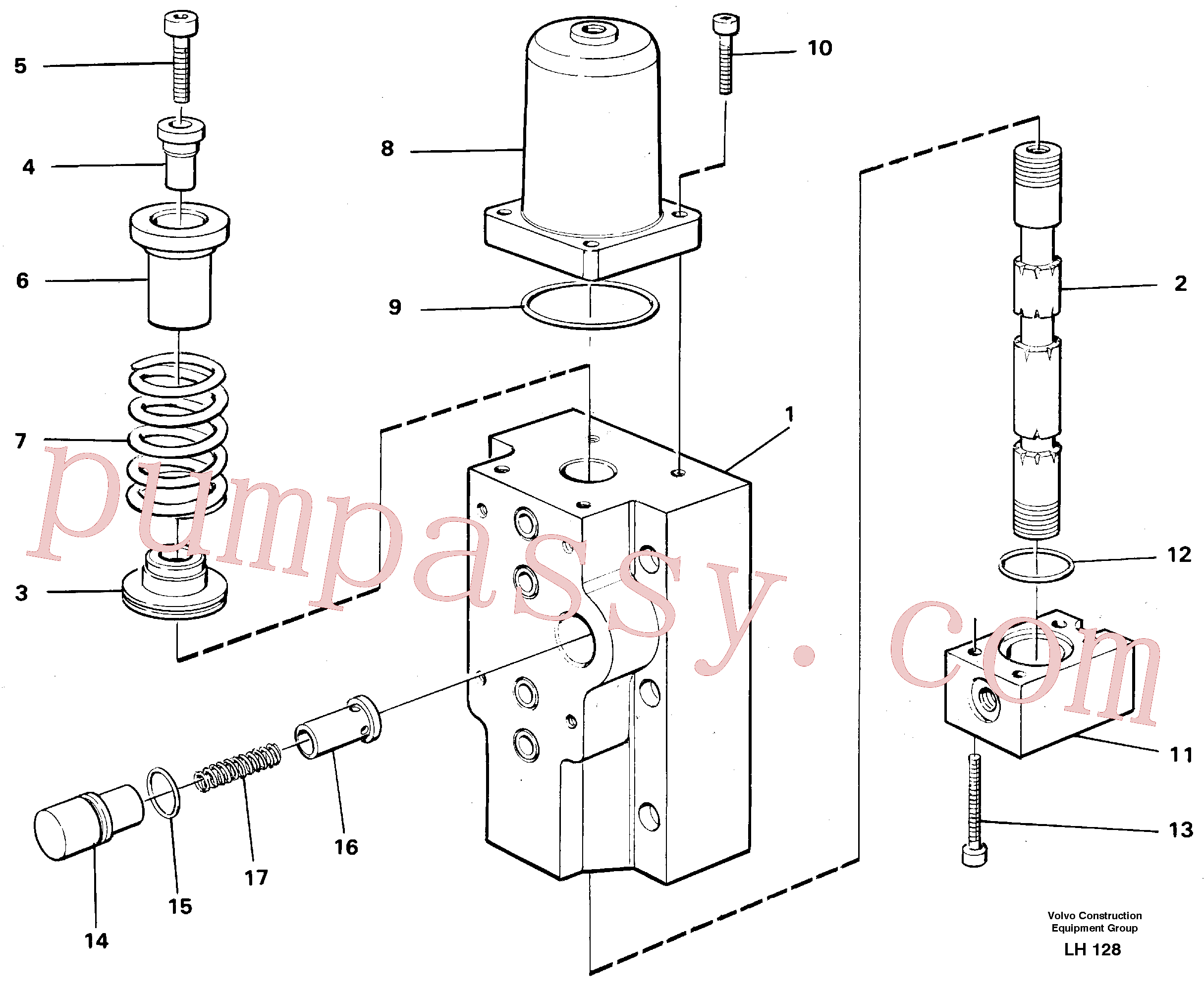 VOE14261818 for Volvo Four-way valves Primary(LH128 assembly)