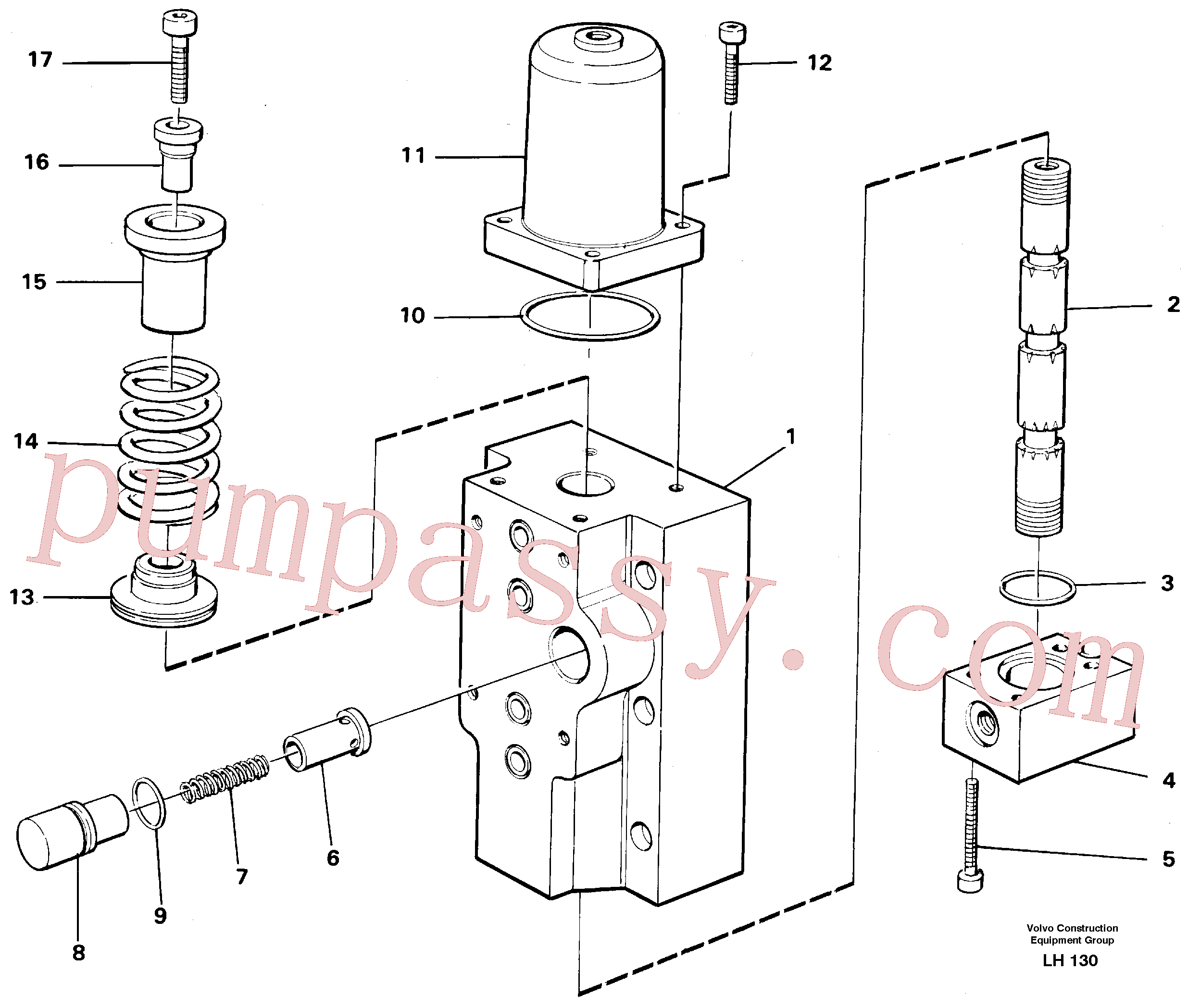 VOE14259278 for Volvo Four-way valve Primary(LH130 assembly)