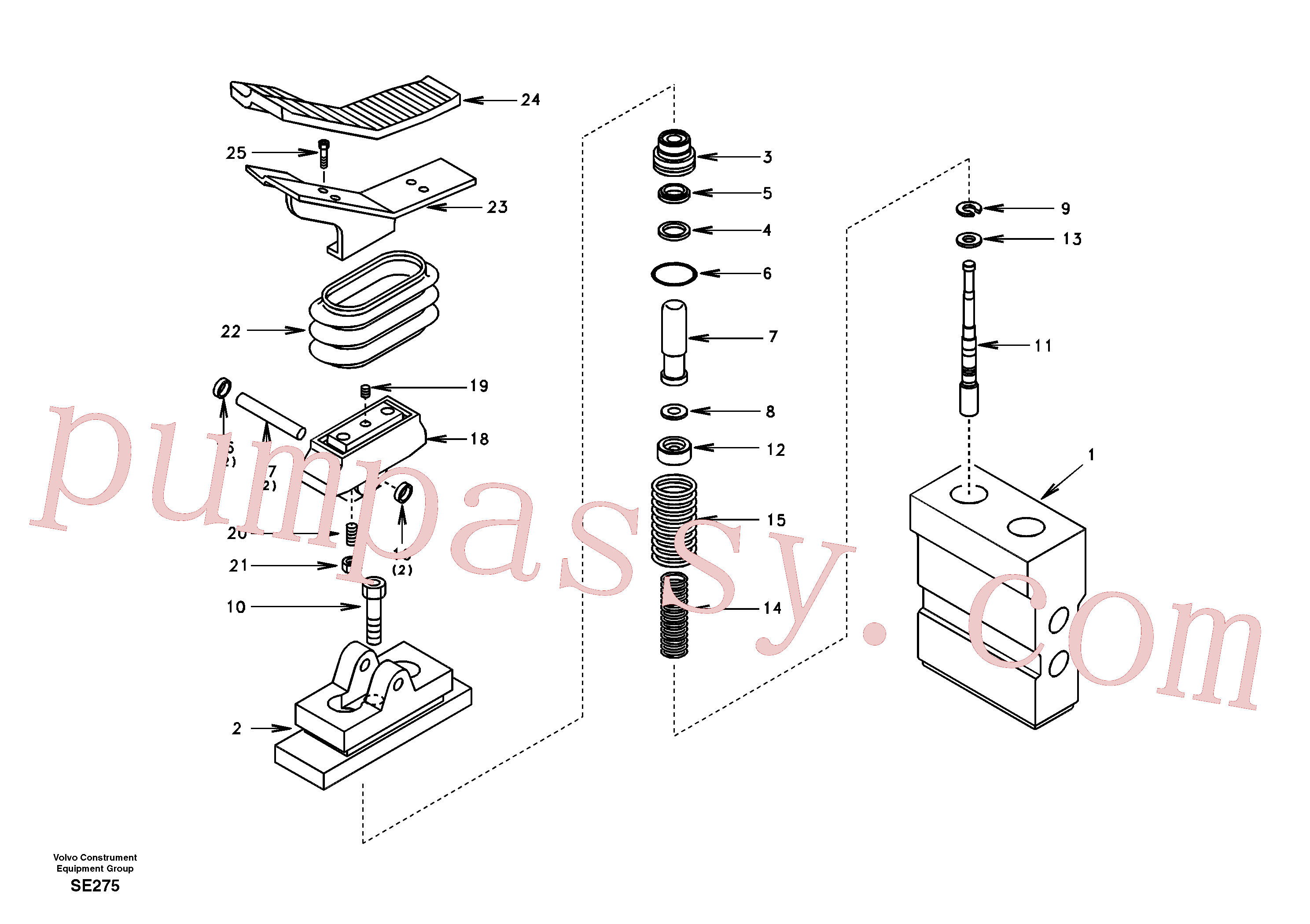 SA8230-19500 for Volvo Working hydraulic, remote control valve pedal for hammer and shear(SE275 assembly)