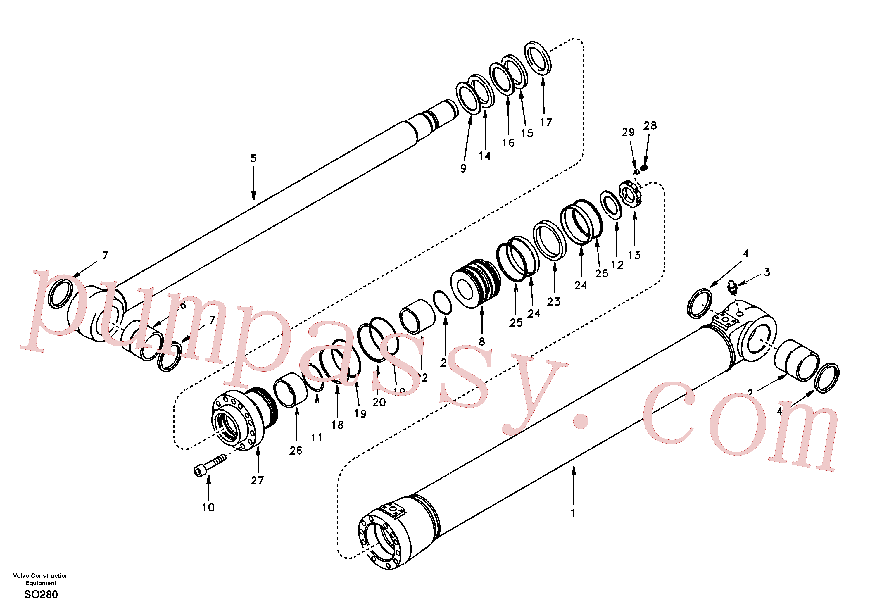 SA1146-02380 for Volvo Boom cylinder(SO280 assembly)