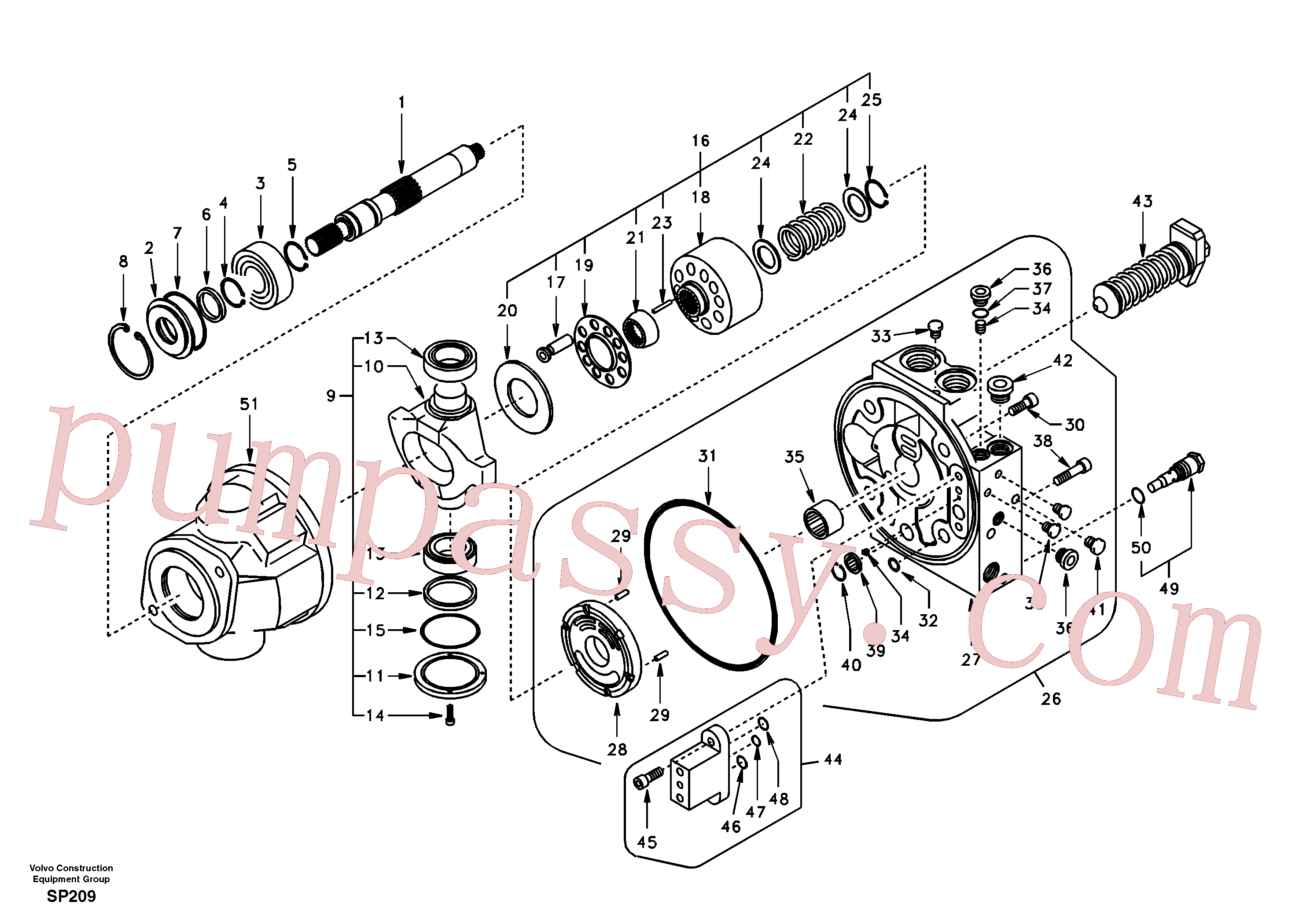 VOE14504579 for Volvo Hydraulic pump(SP209 assembly)
