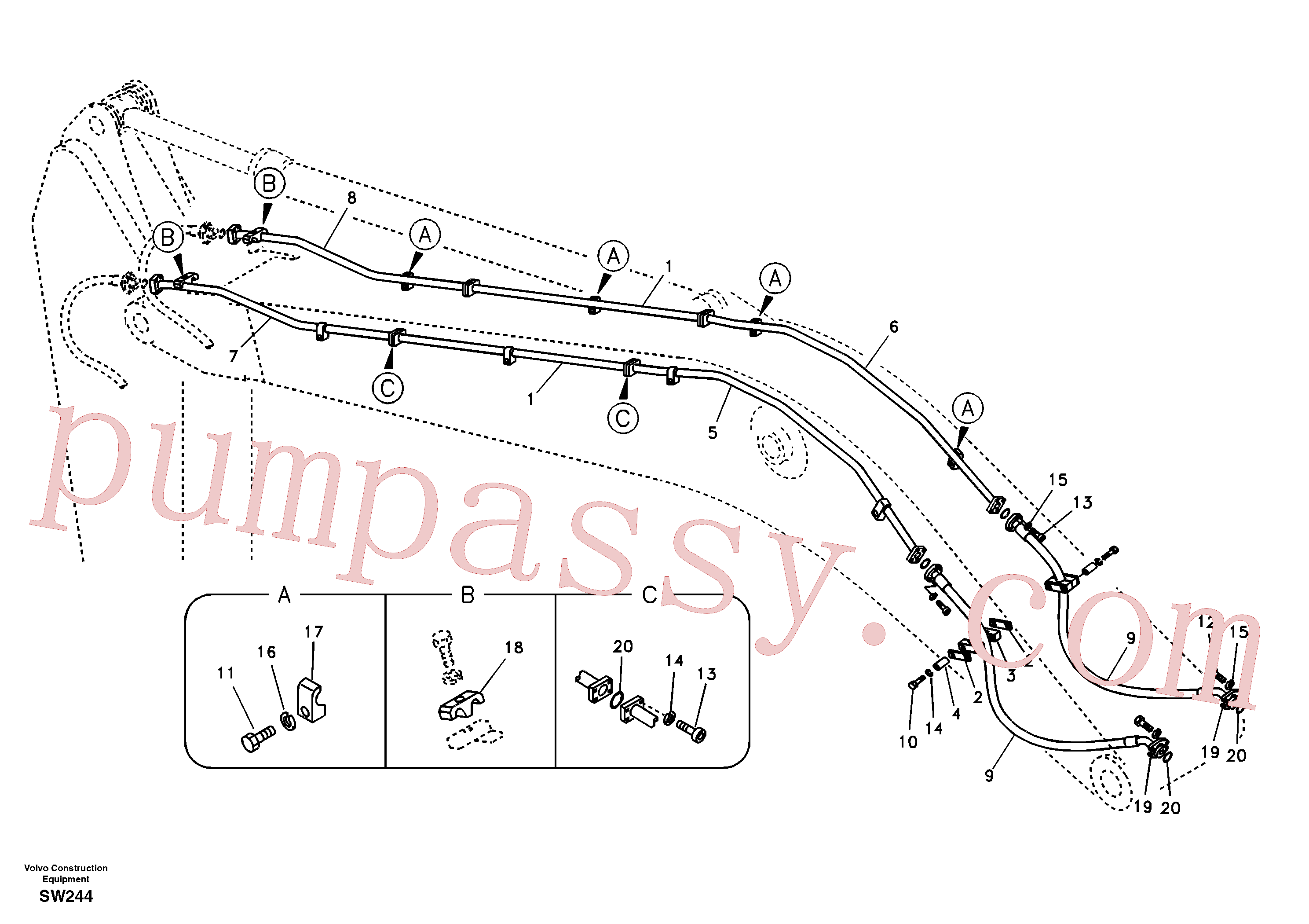 VOE14514841 for Volvo Working hydraulic, hammer and shear for boom(SW244 assembly)