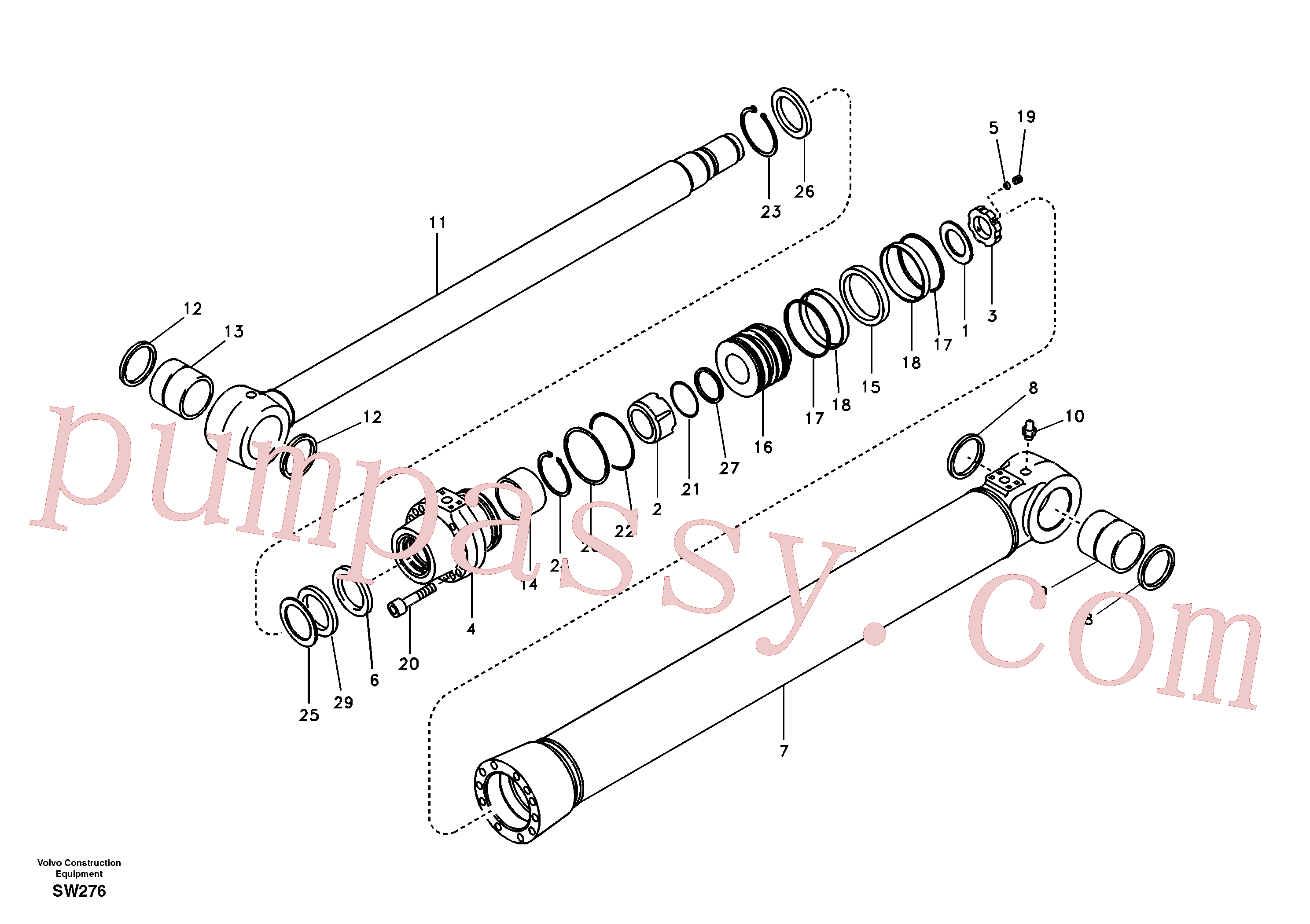 SA1146-03170 for Volvo Boom cylinder(SW276 assembly)