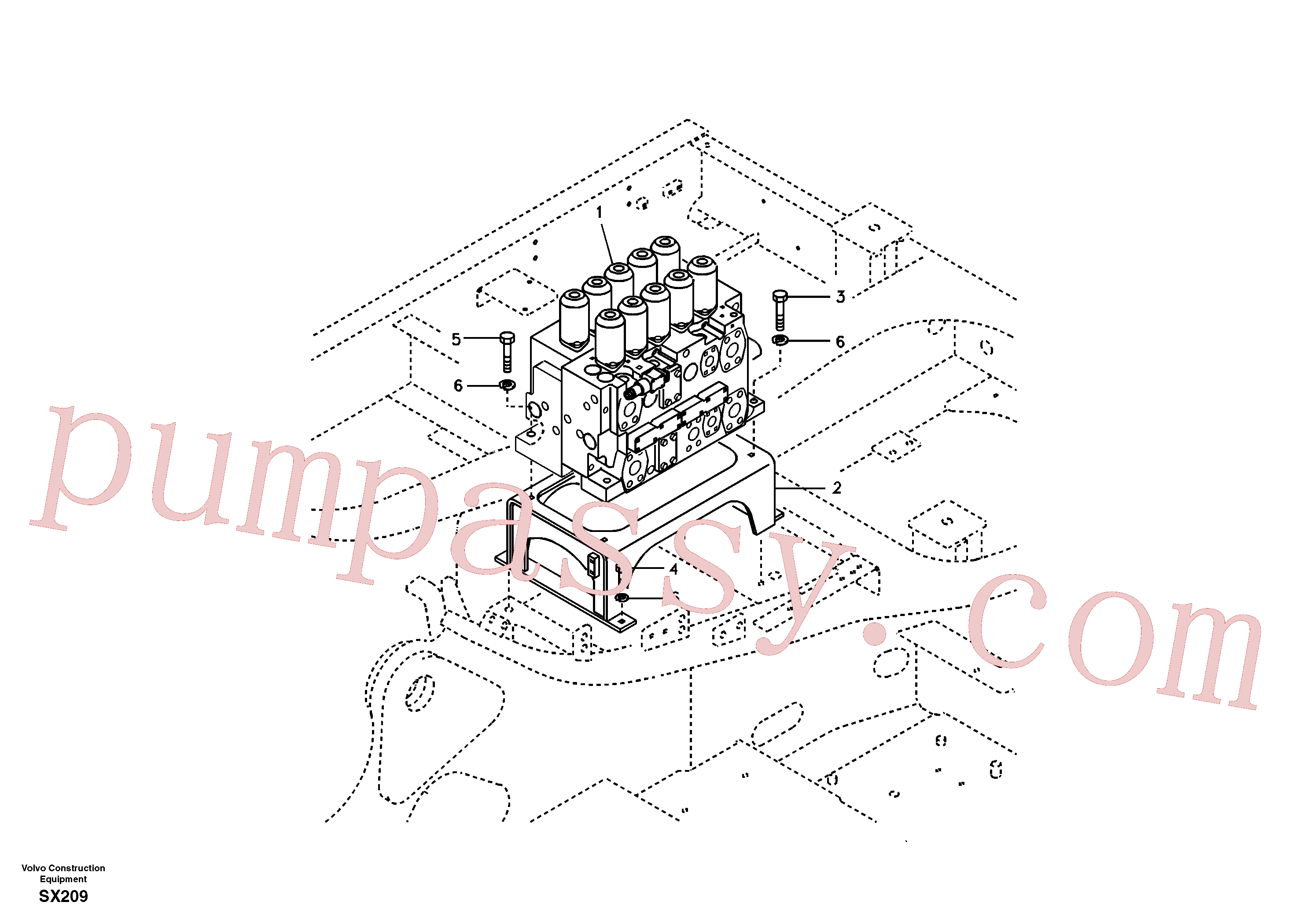 VOE14512813 for Volvo Control valve with fitting parts.(SX209 assembly)